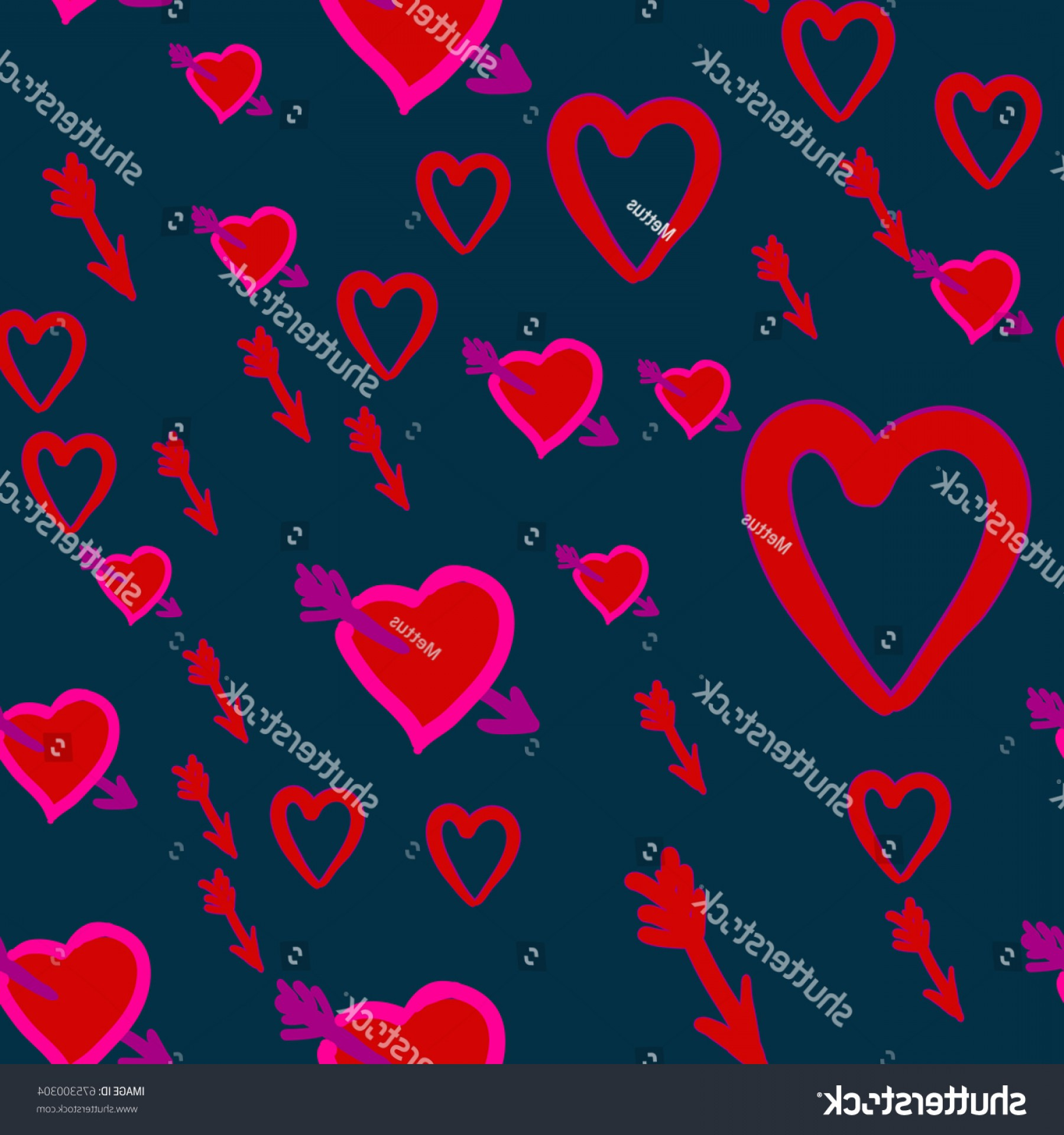 Hunting Heart Vector: Cupid Hunt Valentines Day Pattern Cupids