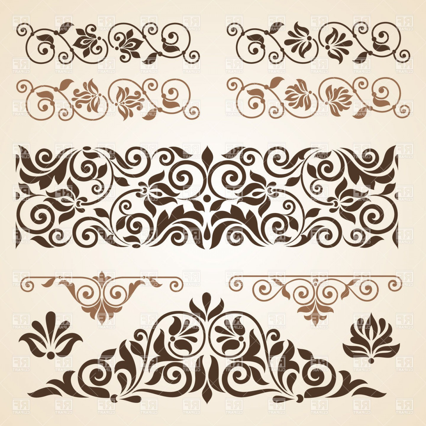 Vector Clip Art Collections: Curly Vintage Design Elements Collection Vector Clipart