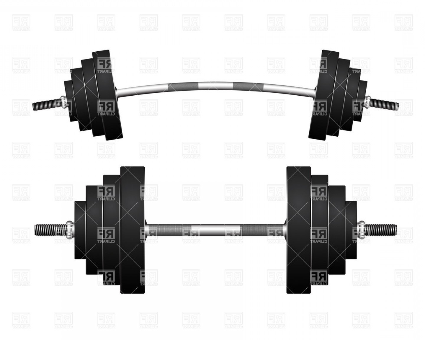 Weight Lifting Vector Graphics: Curved Barbell And Heavy Dumbbell Vector Clipart