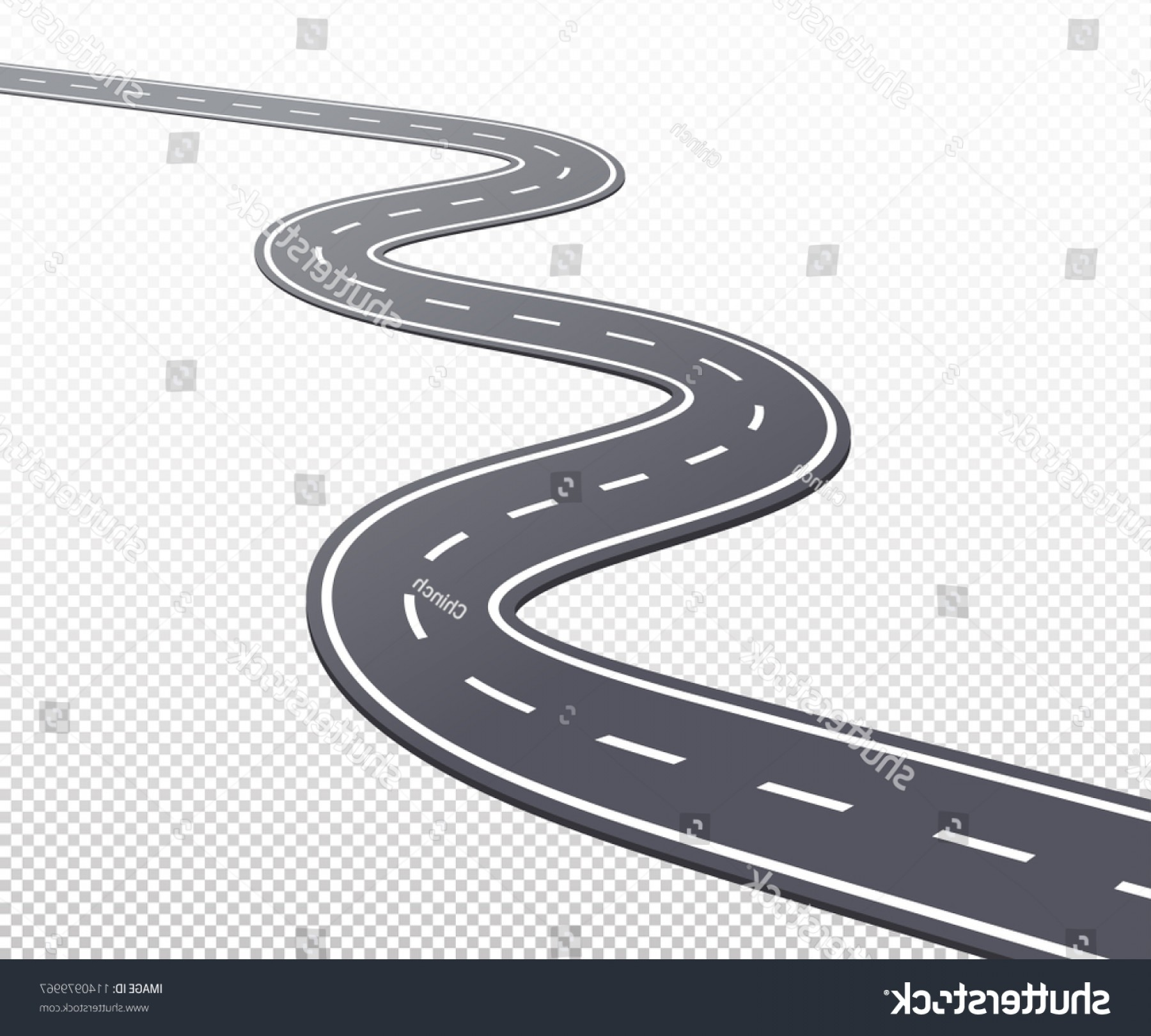 Transparent Curved Road Vector: Curved Road Highway Markings Vector Eps