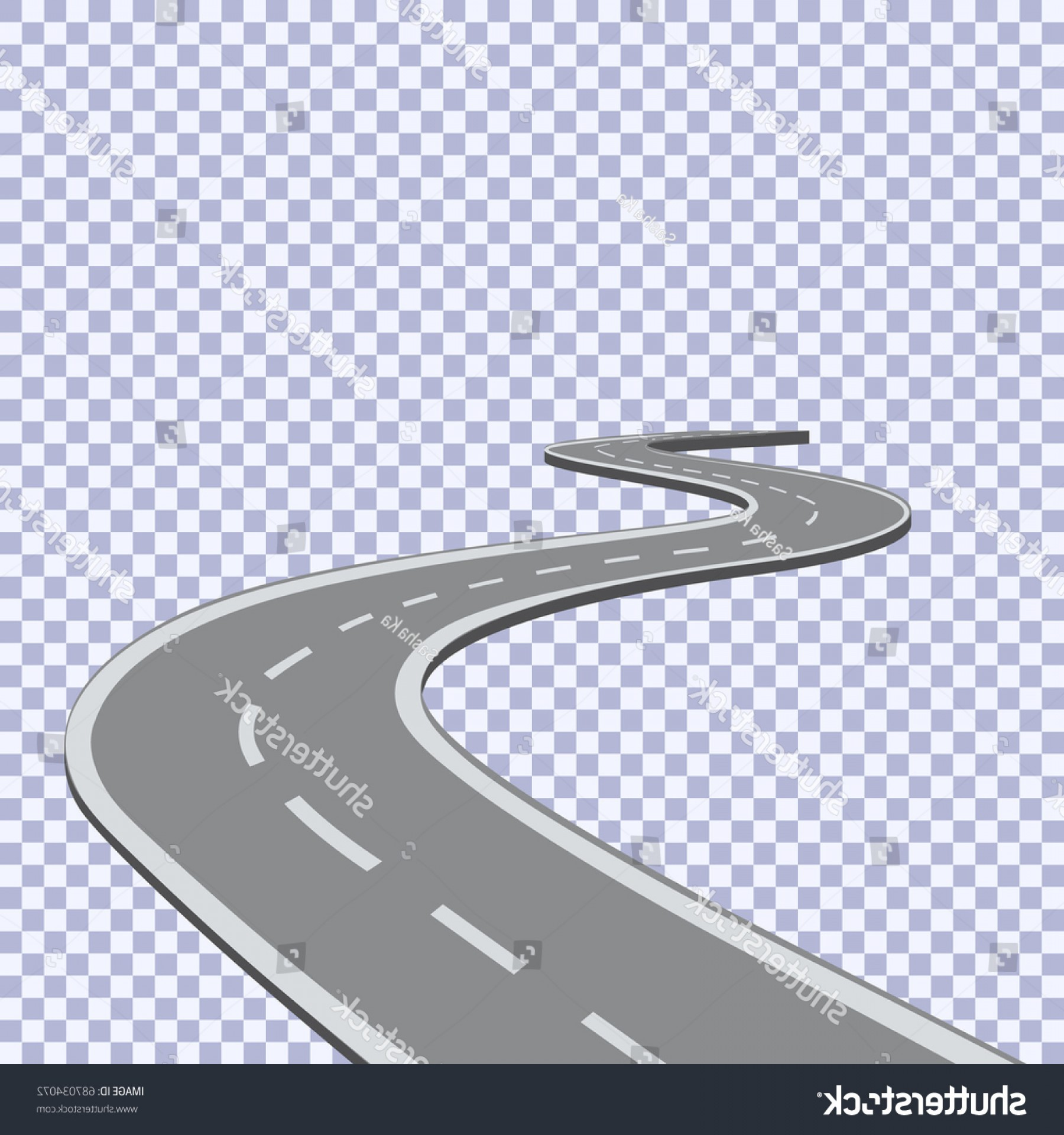 Transparent Curved Road Vector: Curved Road White Lines Black Vector