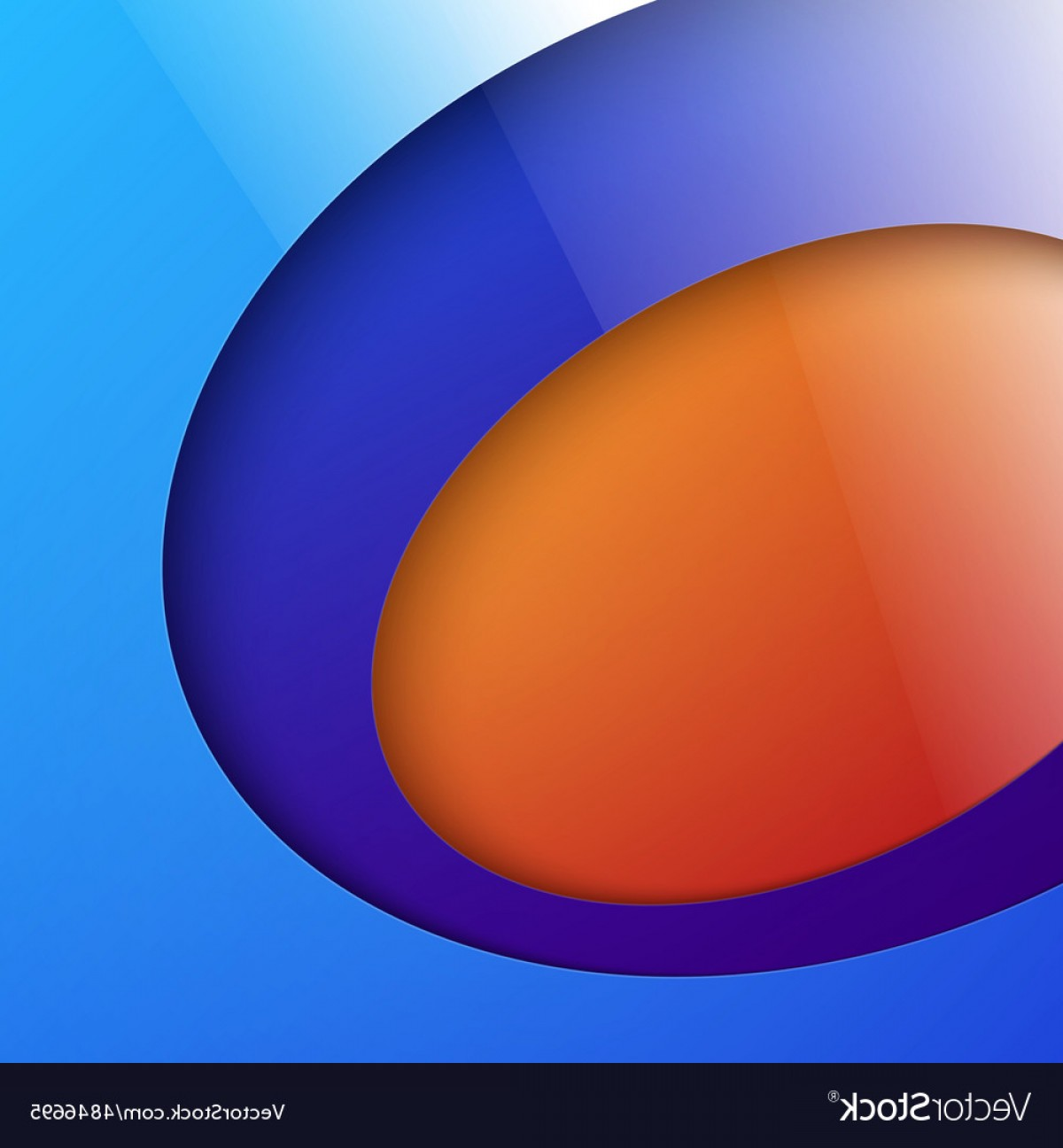 Blue And Orange Circle Vector: Cut Out Shiny Blue And Orange Circle Shapes Vector