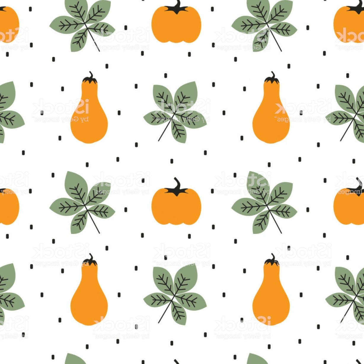 Autumn Seamless Vector: Cute Autumn Fall Seamless Vector Pattern Background Illustration With Pumpkins And Gm