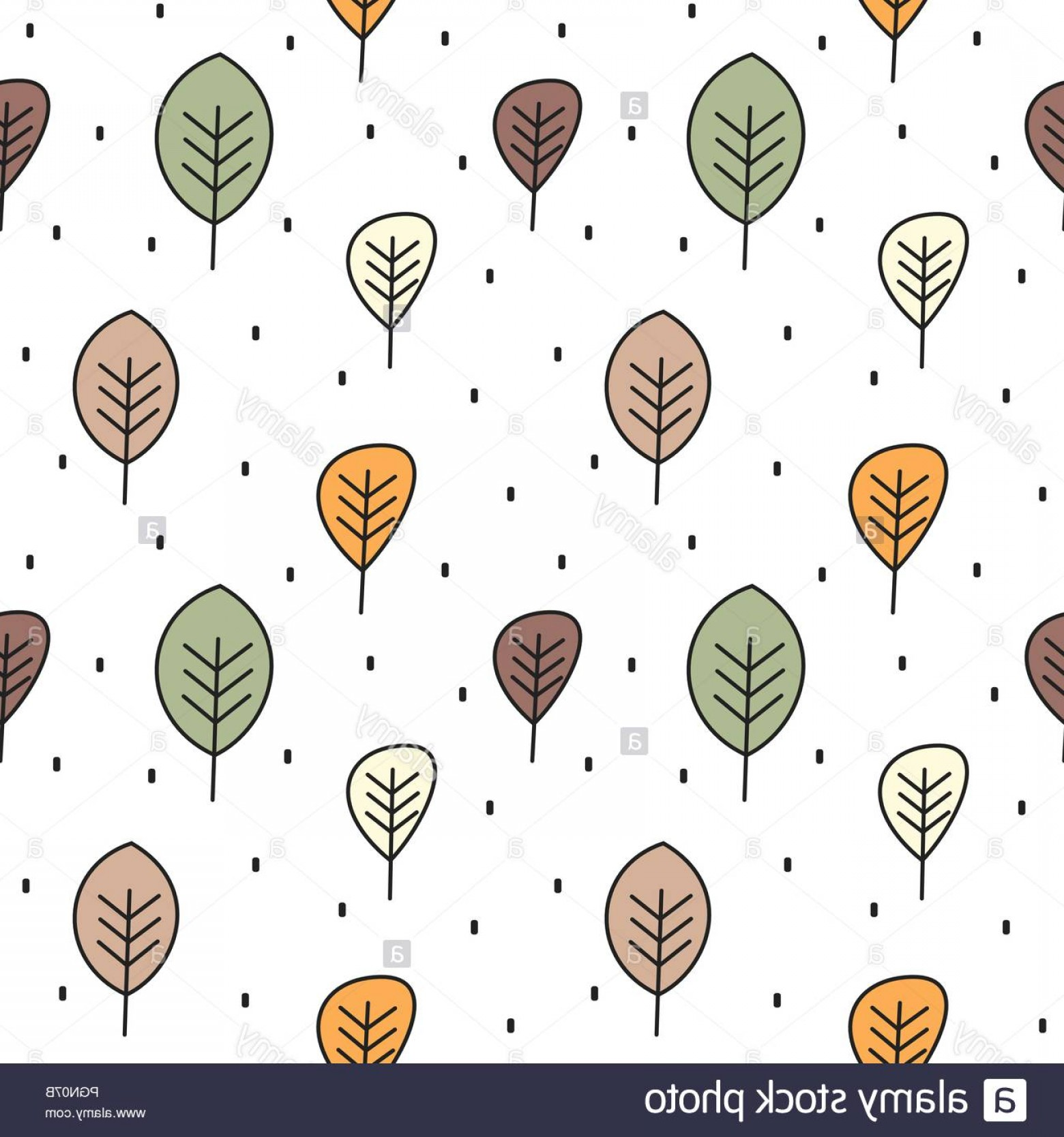 Autumn Seamless Vector: Cute Autumn Seamless Vector Pattern Background Illustration With Leaves Image