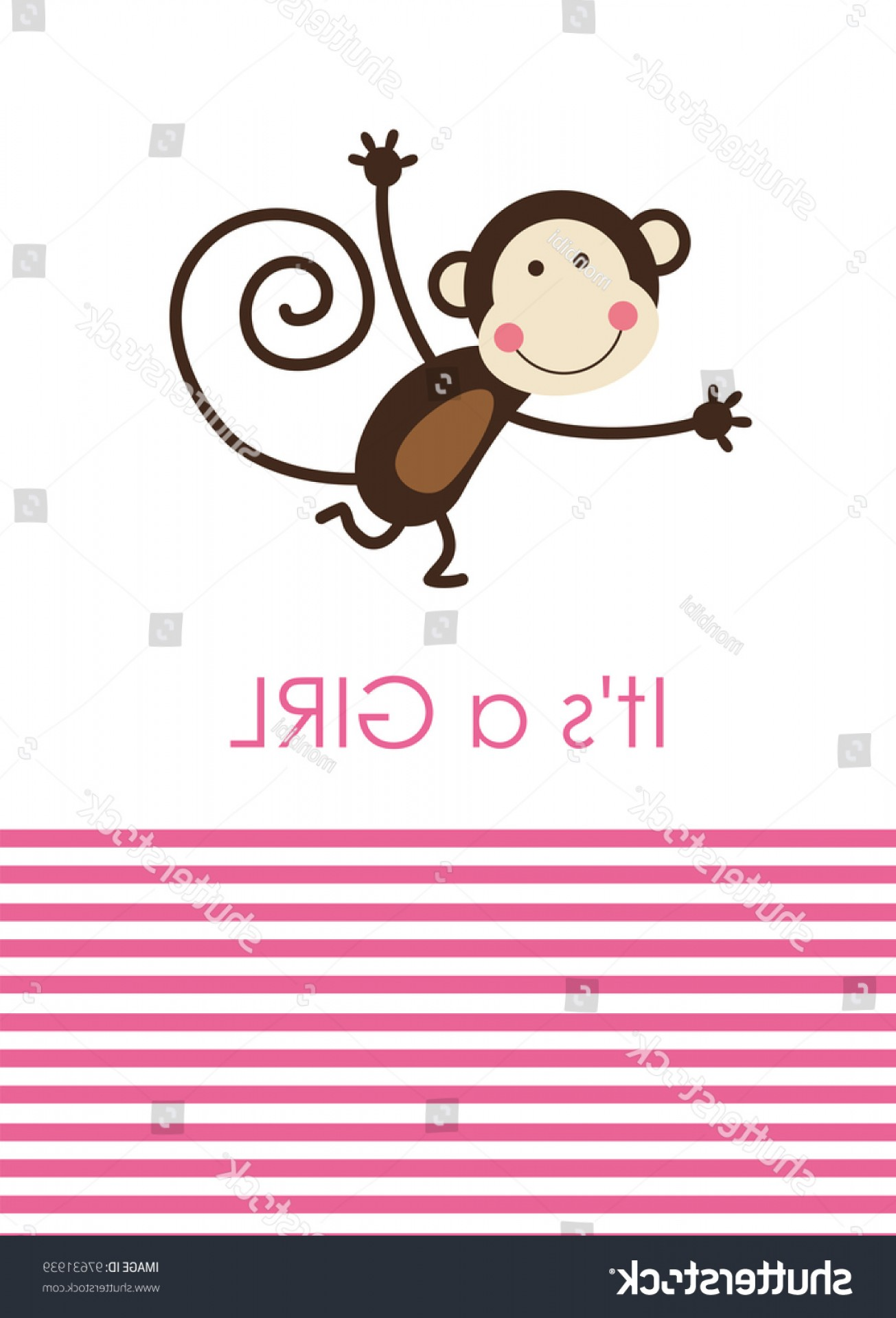 Sitting Monkey Vector Baby Shower: Cute Baby Girl Shower Fun Monkey