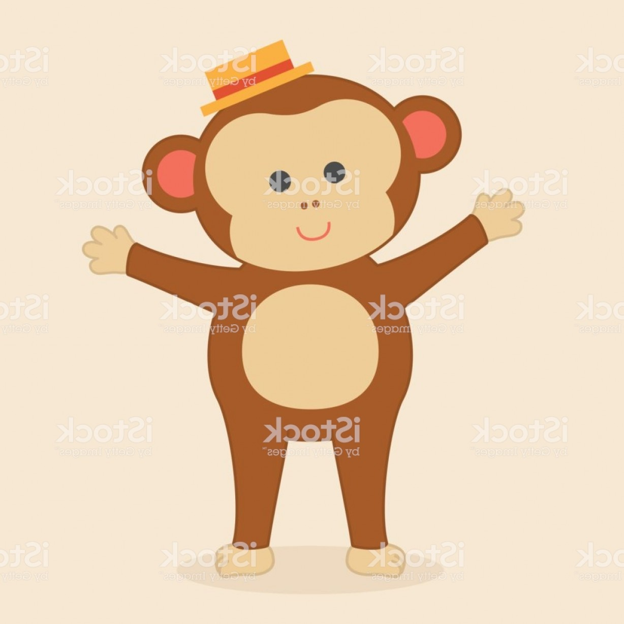 Sitting Monkey Vector Baby Shower: Cute Baby Monkey With Arms Ready To Give A Hug Gm