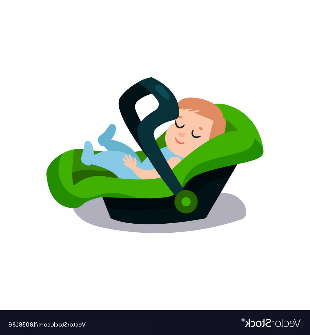 Vector Baby Seat: Cute Baby Sleeping On A Green Car Seat Safe Child Vector