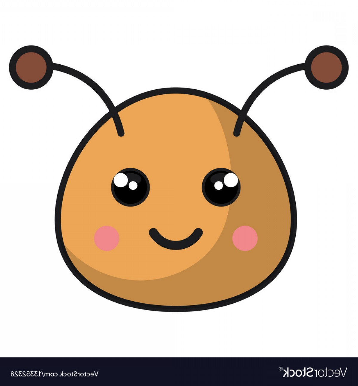 Kawaii Bug Vector: Cute Bee Kawaii Style Vector
