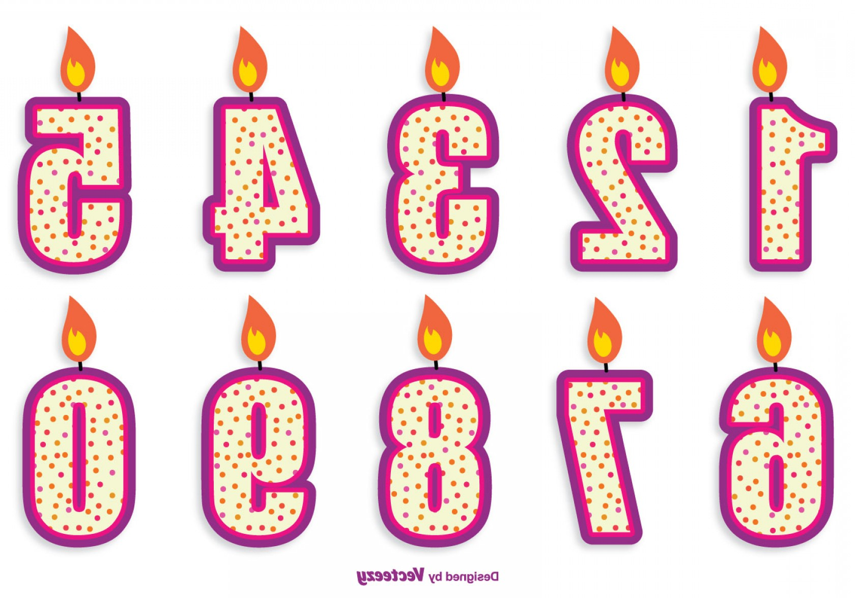 Birthday Candle Vector Art: Cute Birthday Number Candle Set
