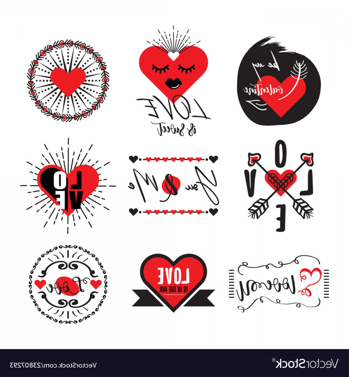 Vector Eyes At Ccute: Cute Black And Red Heart Love Valentine Emblem Set Vector