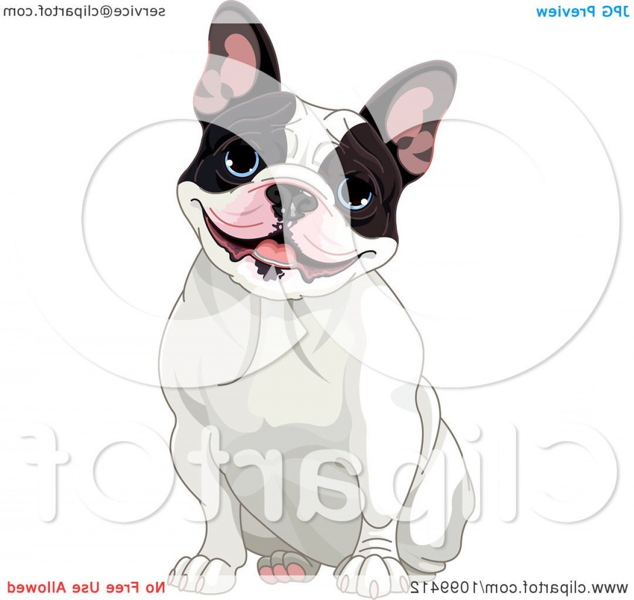 Vector Smiling Bulldog: Cute Black And White French Bulldog Sitting And Smiling