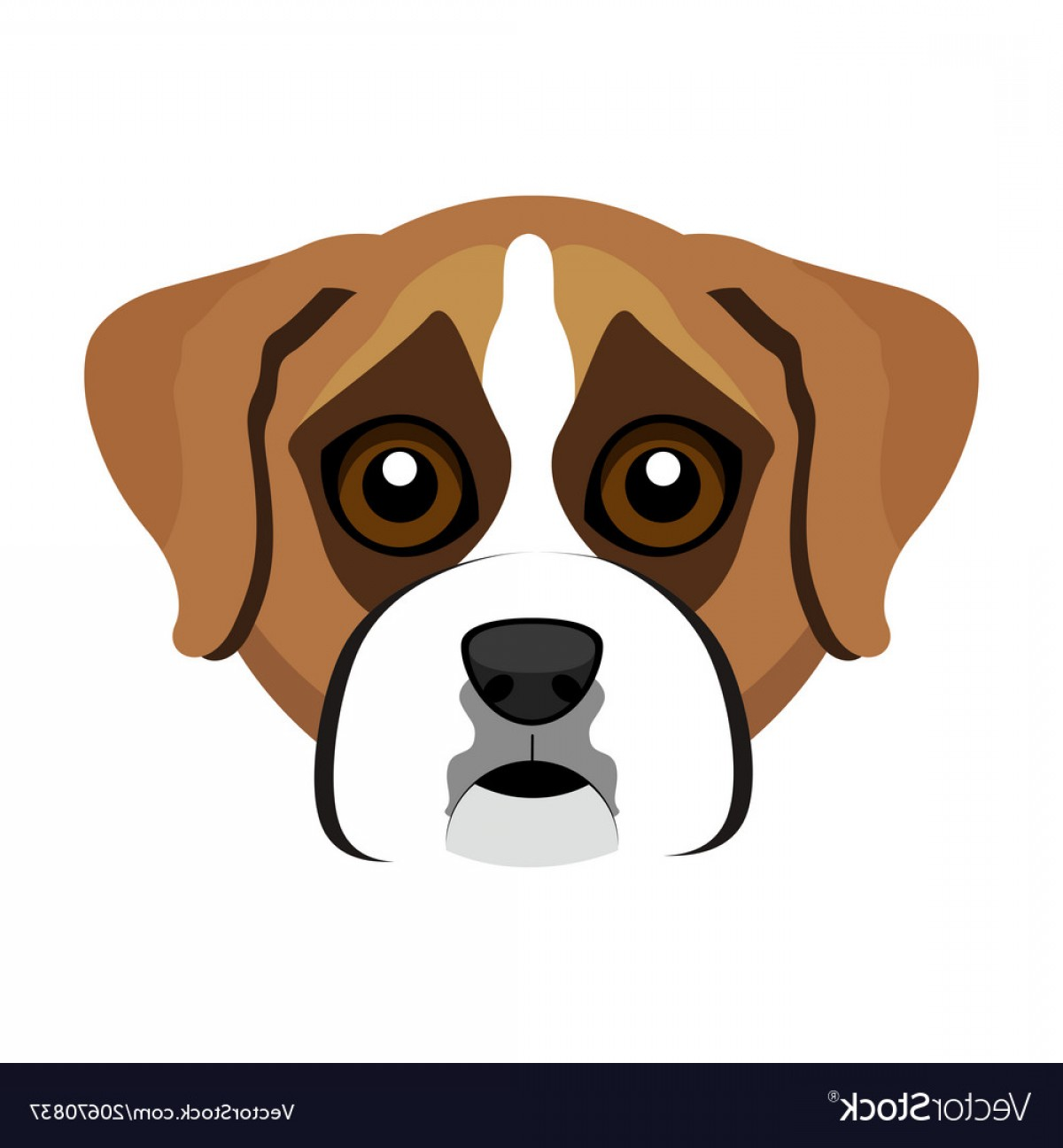 Bpxer Vector Art Happy Dog: Cute Boxer Dog Avatar Vector