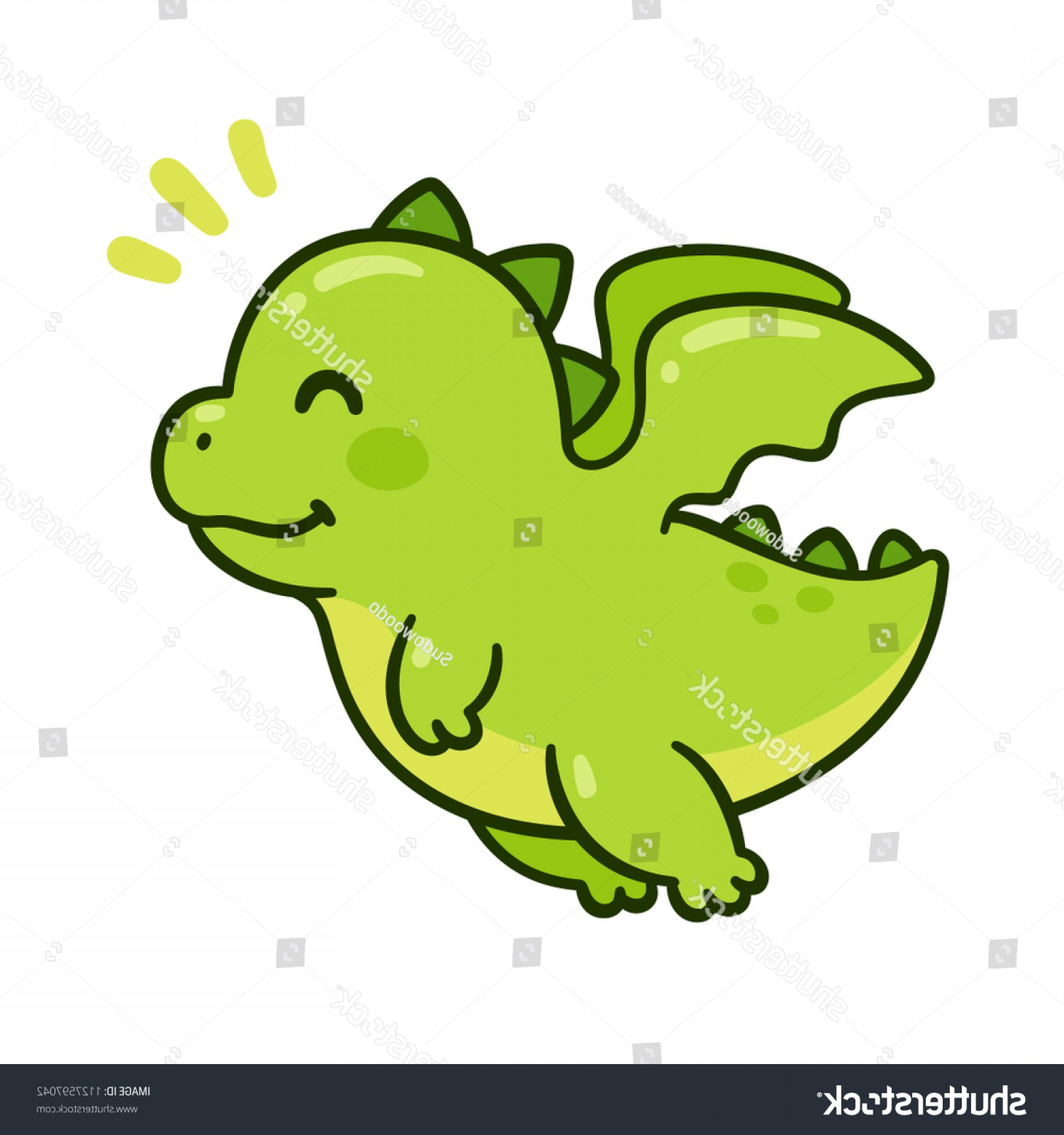 Baby Dragon Silhouette Vector: Cute Cartoon Green Baby Dragon Flying