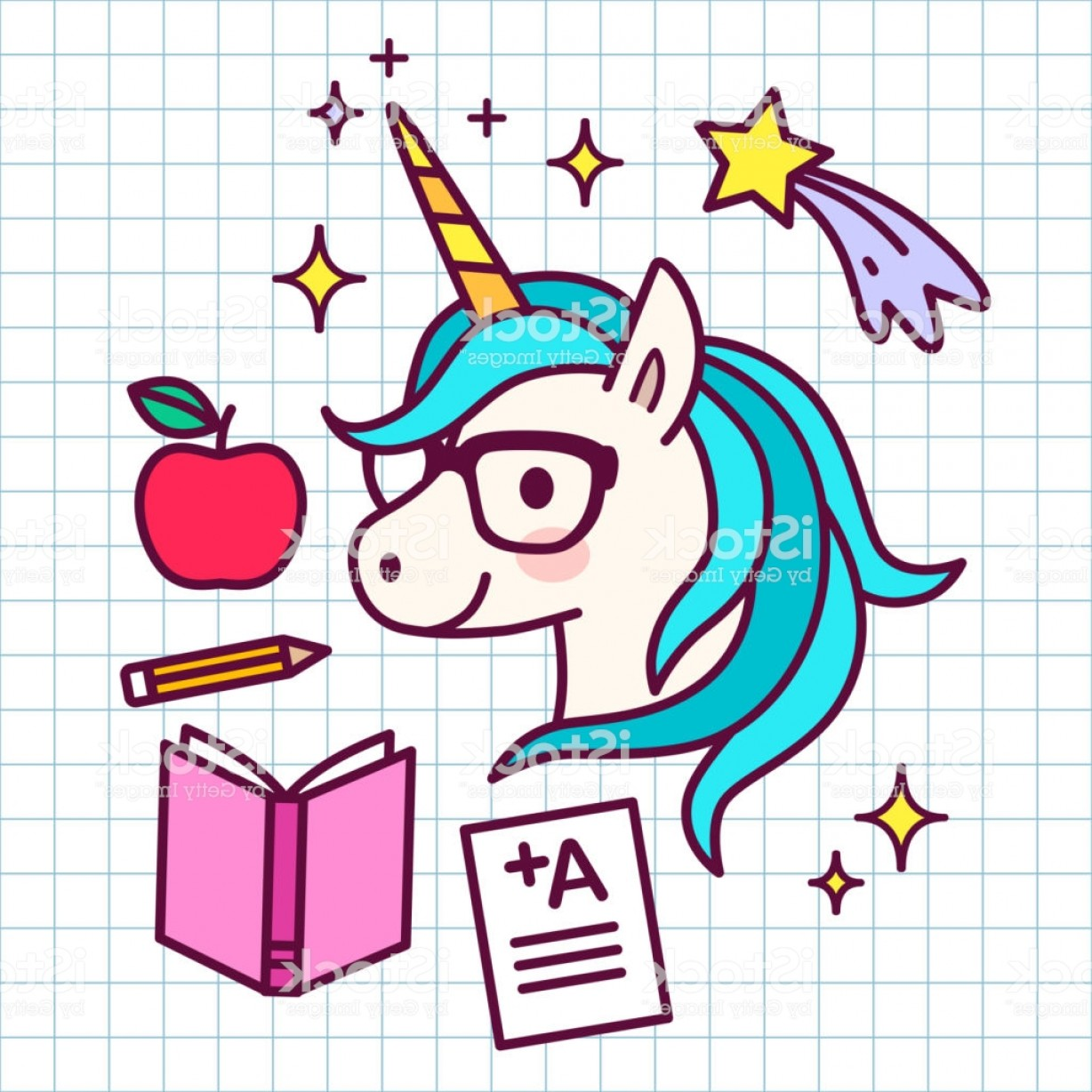 School Themed Vector: Cute Cartoon Magic Unicorn With Eyeglasses With School Themed Icons Around On Grid Gm