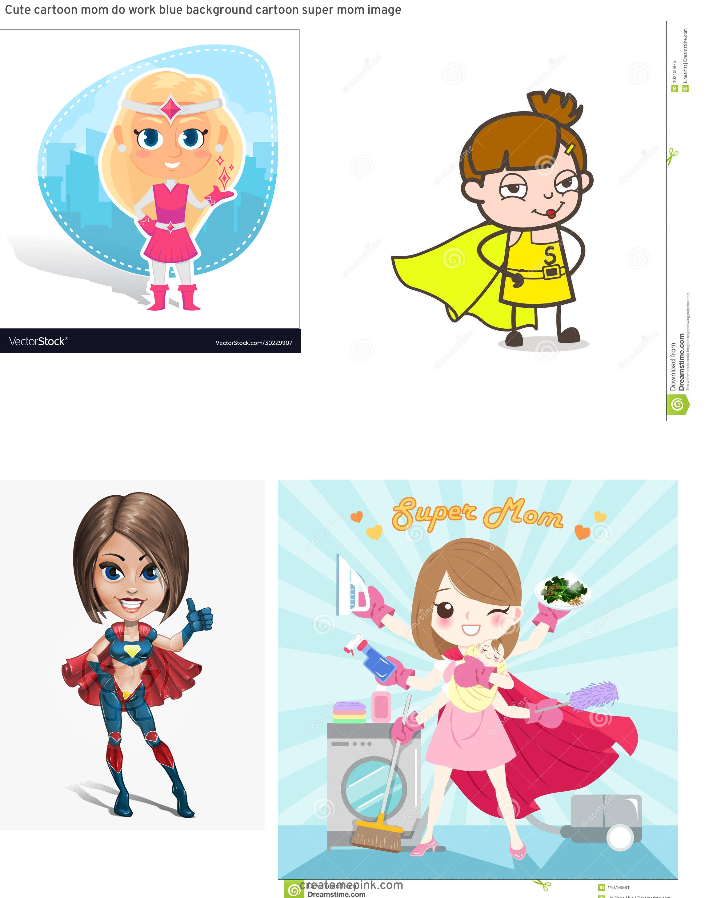 Super Cute Cartoon Girl Vector: Cute Cartoon Mom Do Work Blue Background Cartoon Super Mom Image