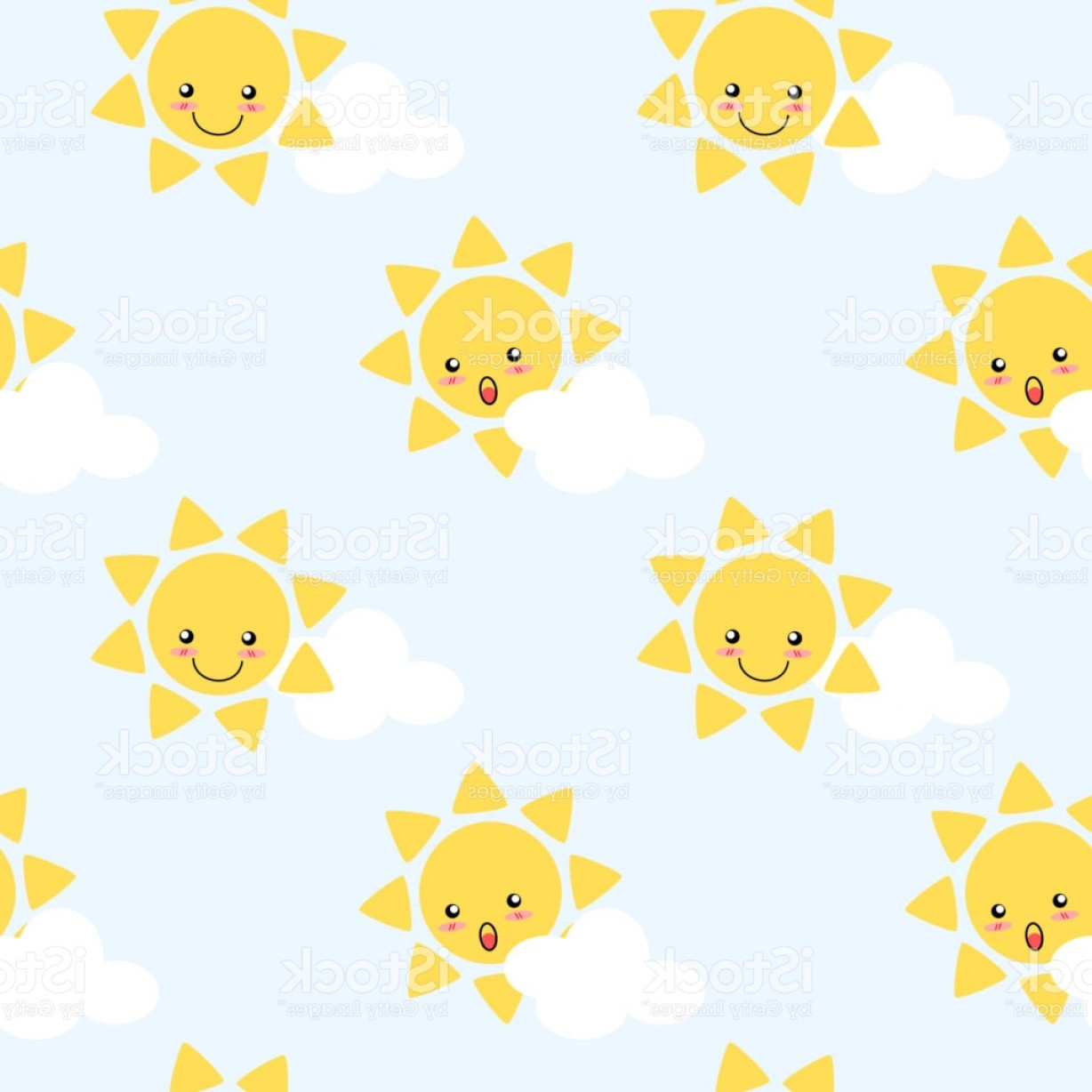 Blue Background Vector Cartoon Sun: Cute Cartoon Sun Seamless Pattern Vector Background Lovely Cartoon Character On Gm
