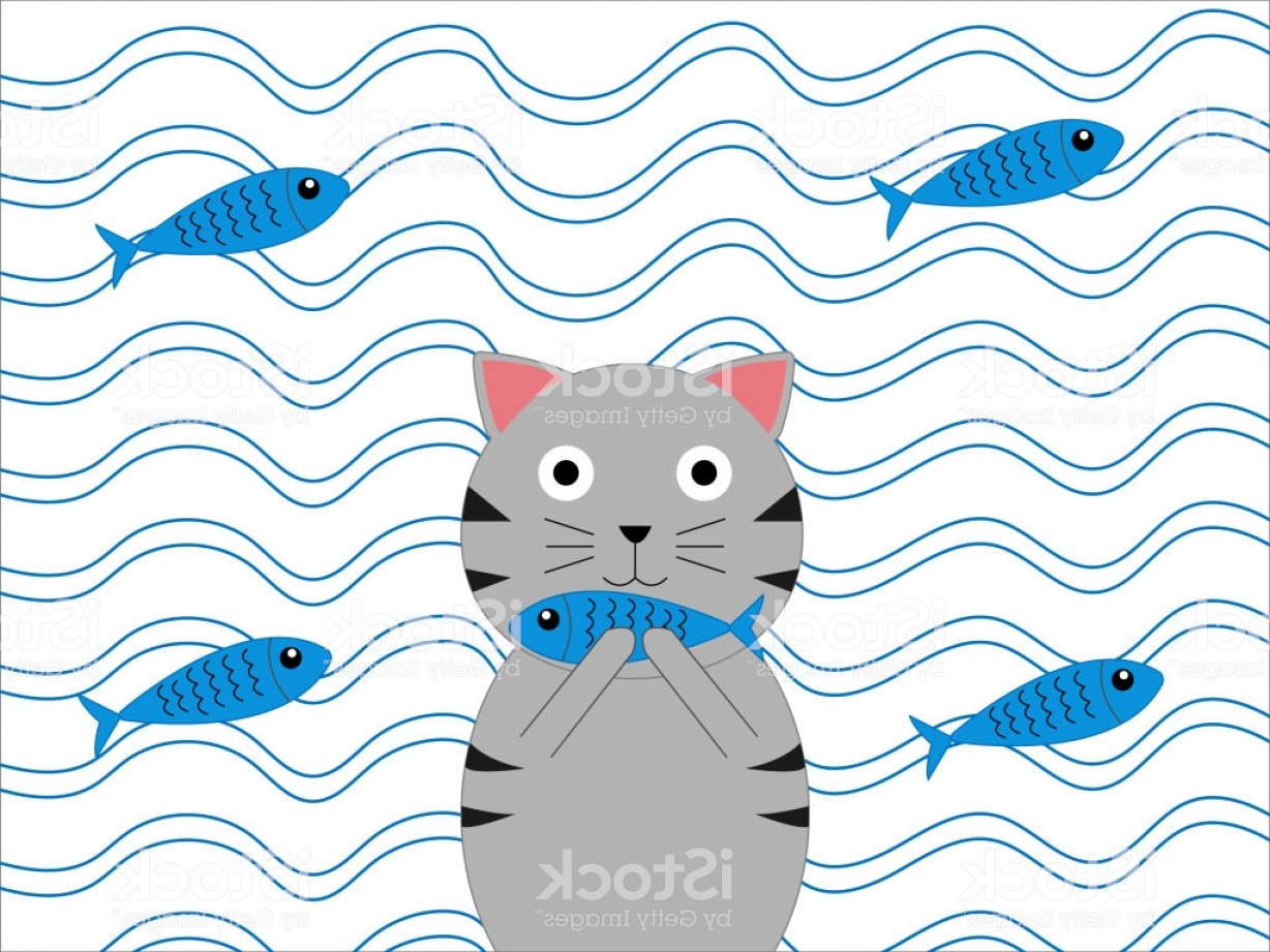 Cartoon Water Background Vector Clip Art: Cute Cat Eat Fish Cartoon And Water Background Vector Art And Illustration Drawing Gm