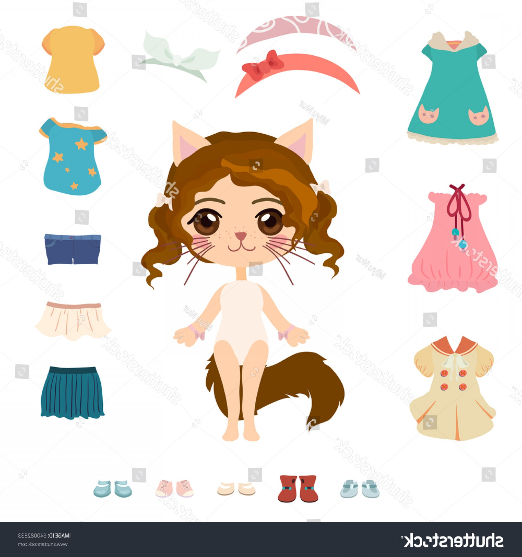 Bond Girls Vector: Cute Cat Girl Her Clothes Paper