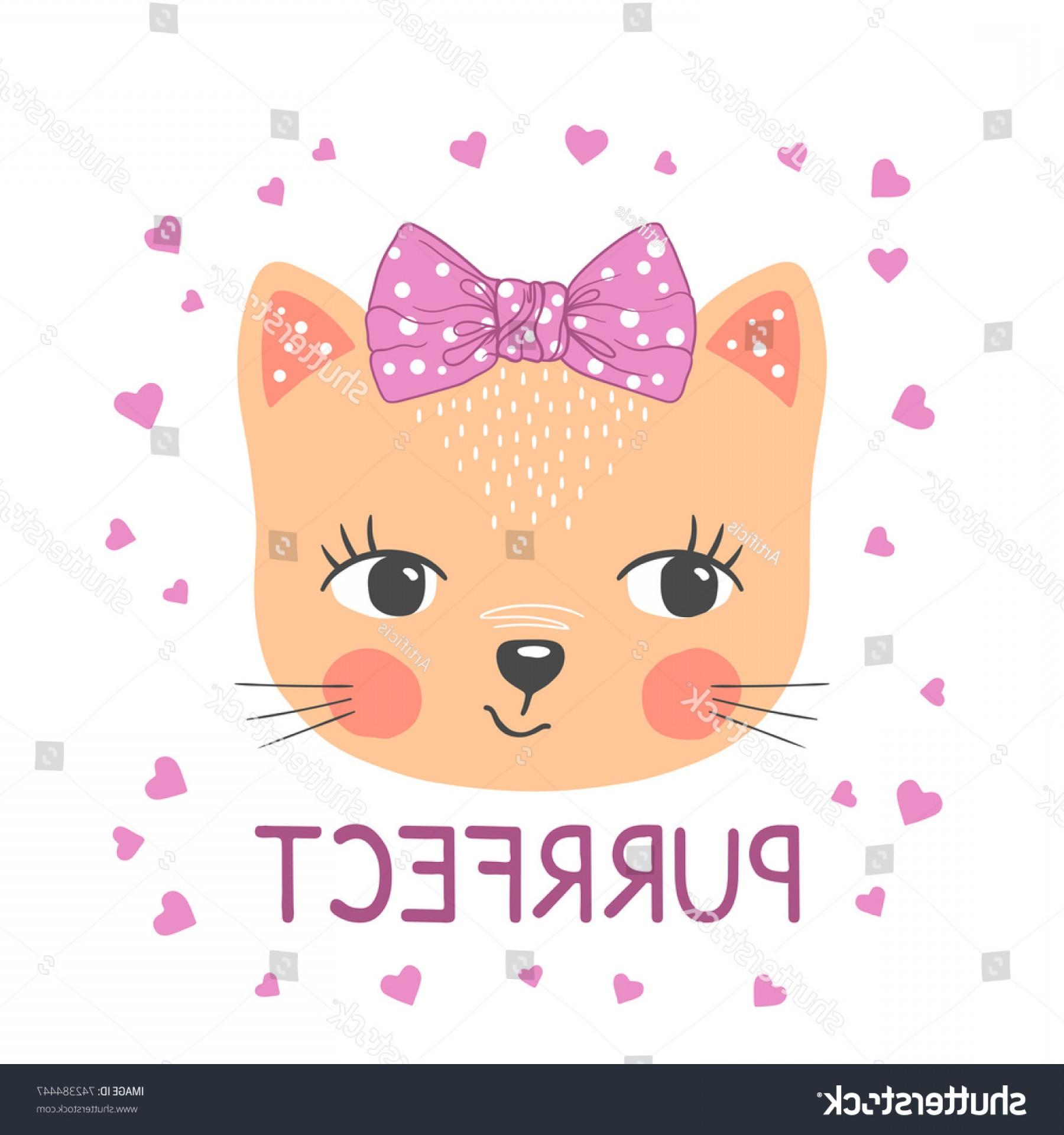 Princess Tiara Vector Heart With A Bottom: Cute Cat Girl Little Kitten Bow