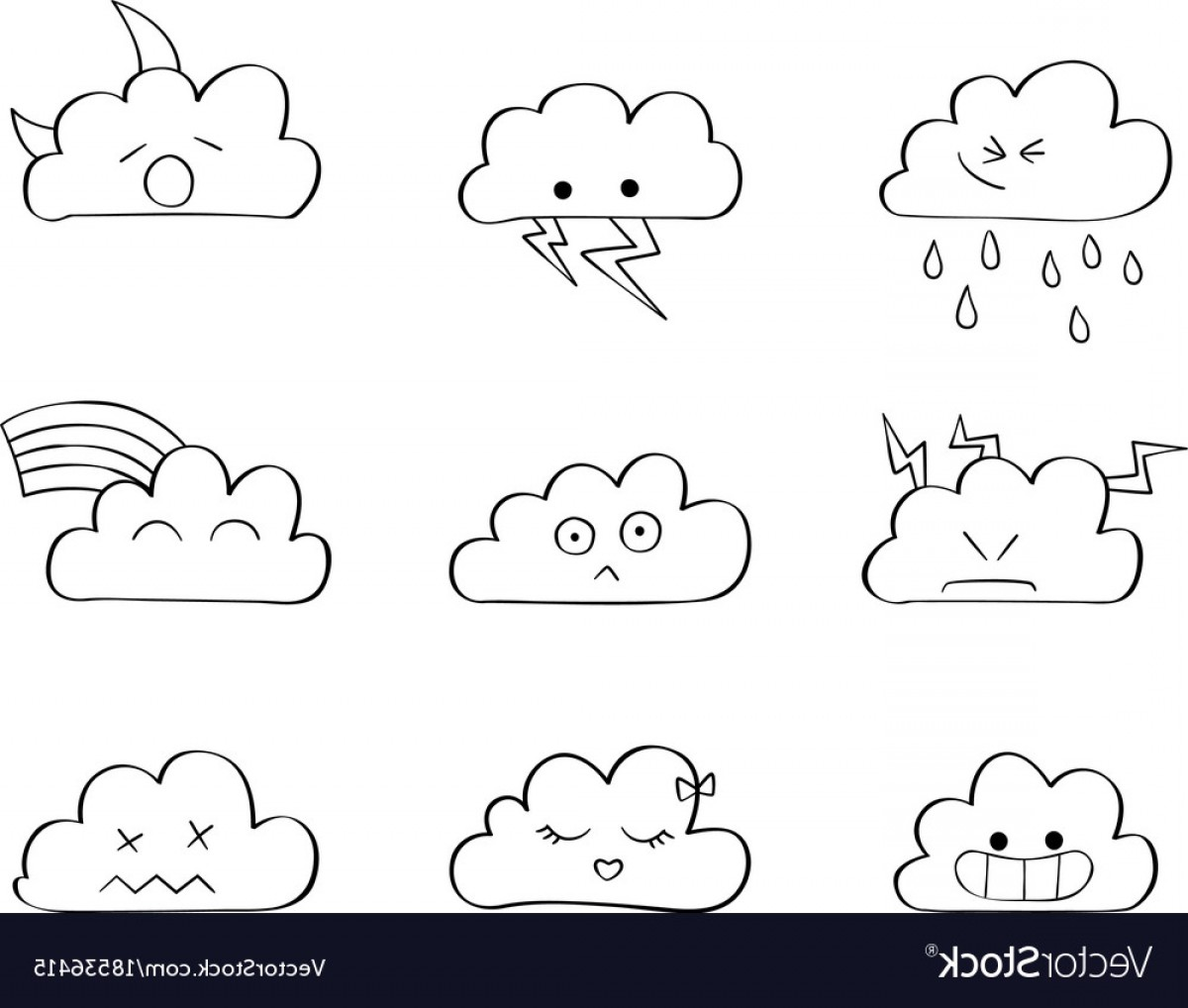 Cloud Outline Vector Black And White: Cute Clouds Outline Kawaii Vector