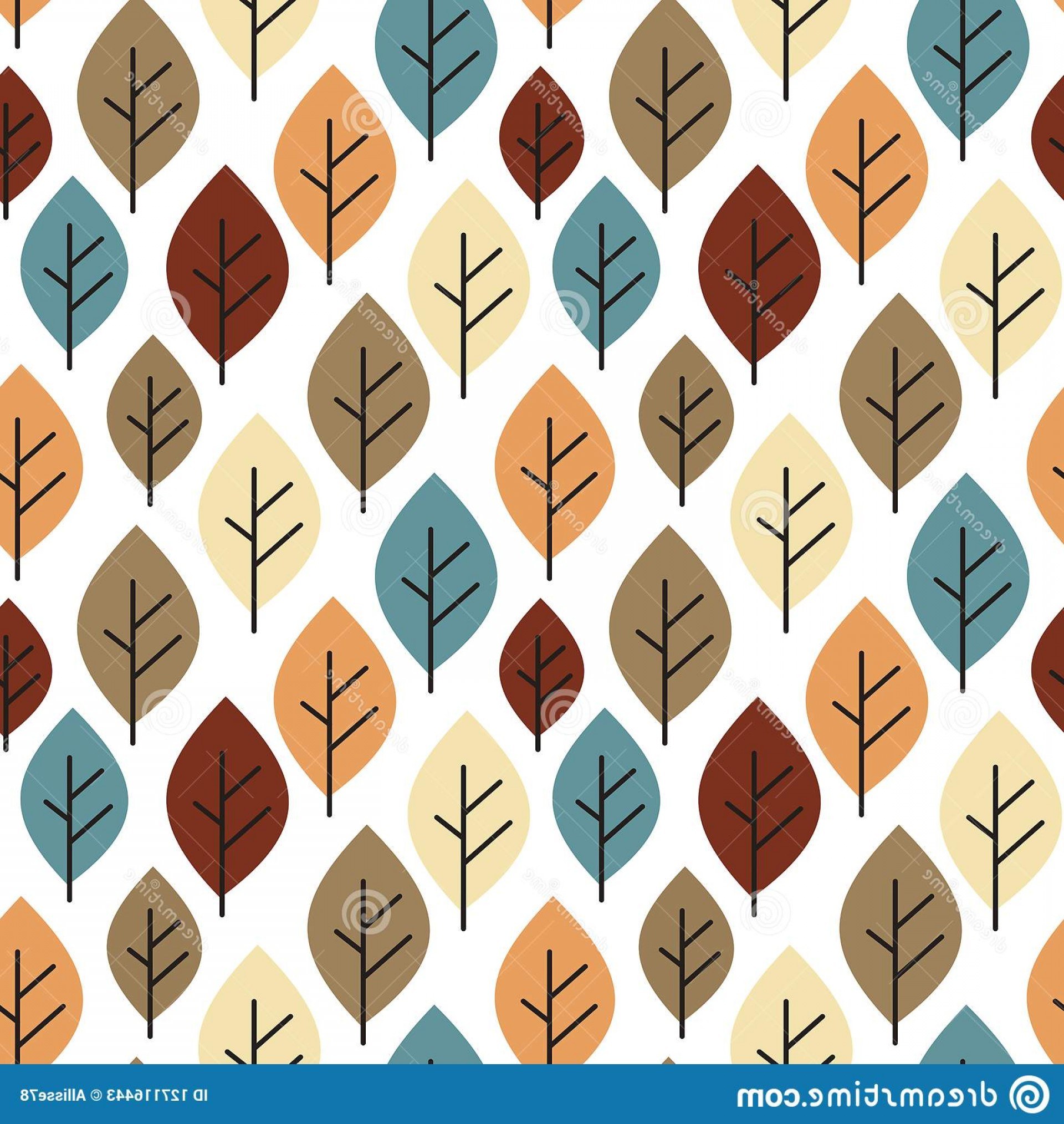 Autumn Seamless Vector: Cute Colorful Autumn Fall Seamless Pattern Background Illustration Leaves Vector Image