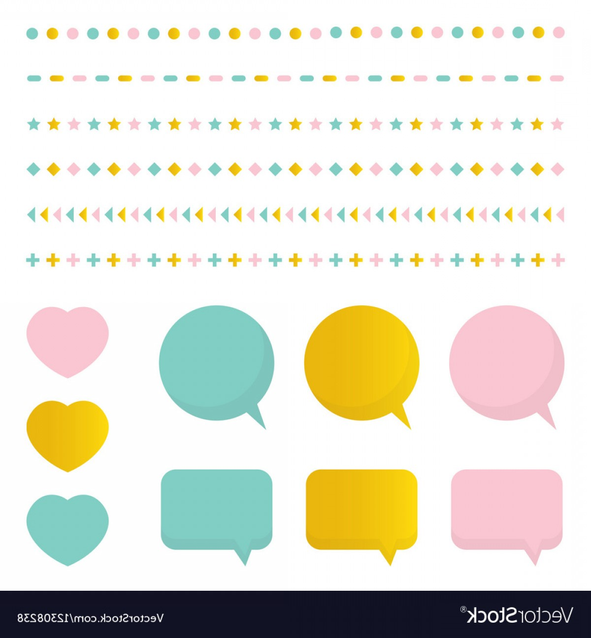 Cute Design Elements Vector Set: Cute Colorful Set Collection Of Design Elements Vector