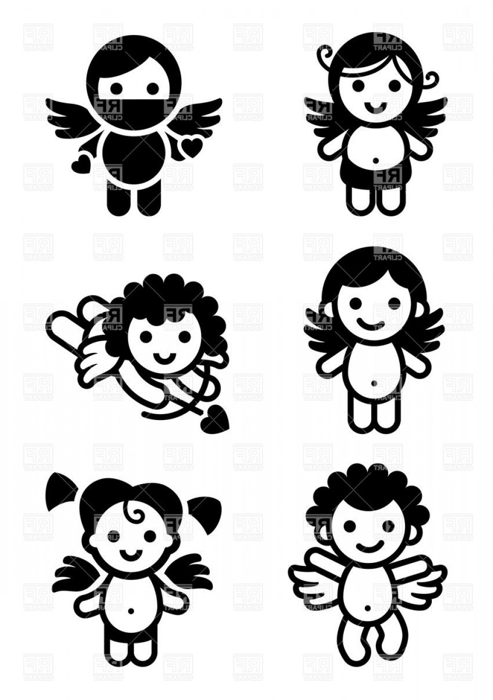 Vector Clip Art Collections: Cute Cupids Collection Of Angels Vector Clipart