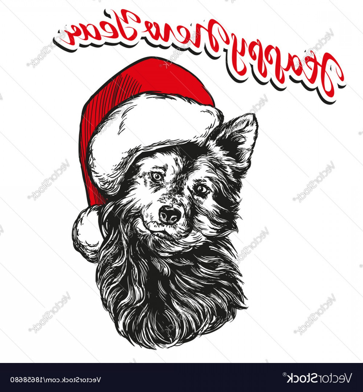 Stocking Hat Vector: Cute Dog In Santa Stocking Hat Santa Claus Christmas Vector