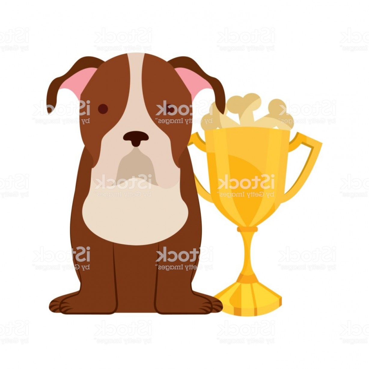 Double Boxer Dog Vector: Cute Dog Mascot With Trophy Gm