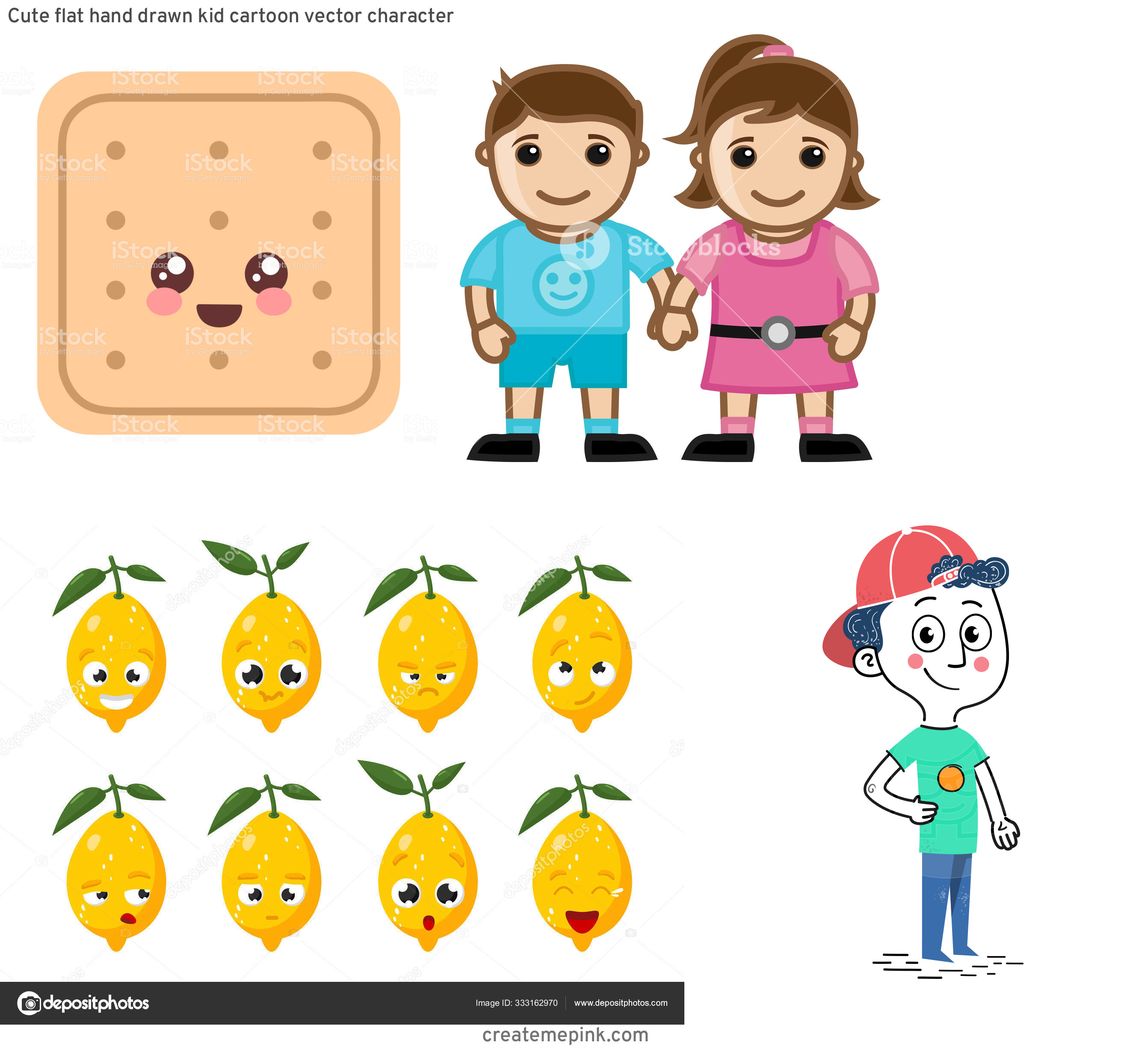 Vute Vector Character: Cute Flat Hand Drawn Kid Cartoon Vector Character