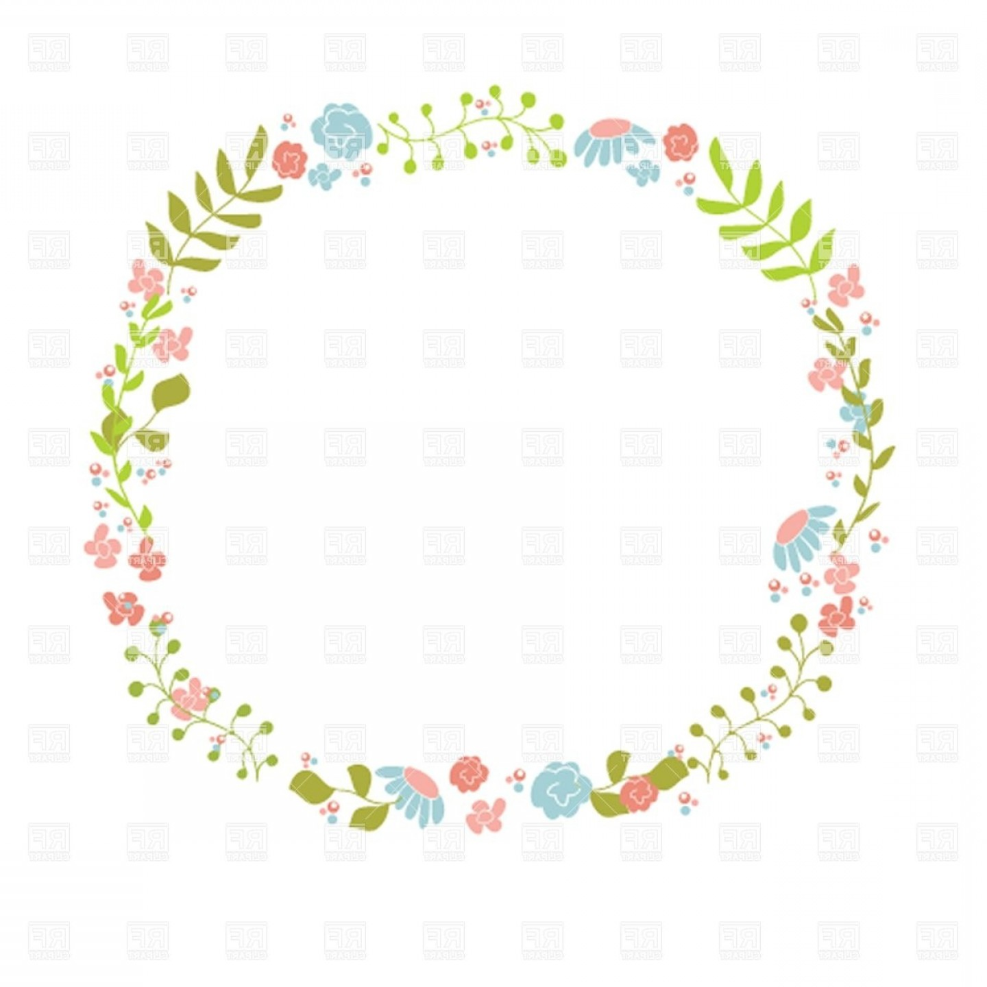 Floral Laurel Wreath Vector: Cute Floral Wreath Vector Clipart