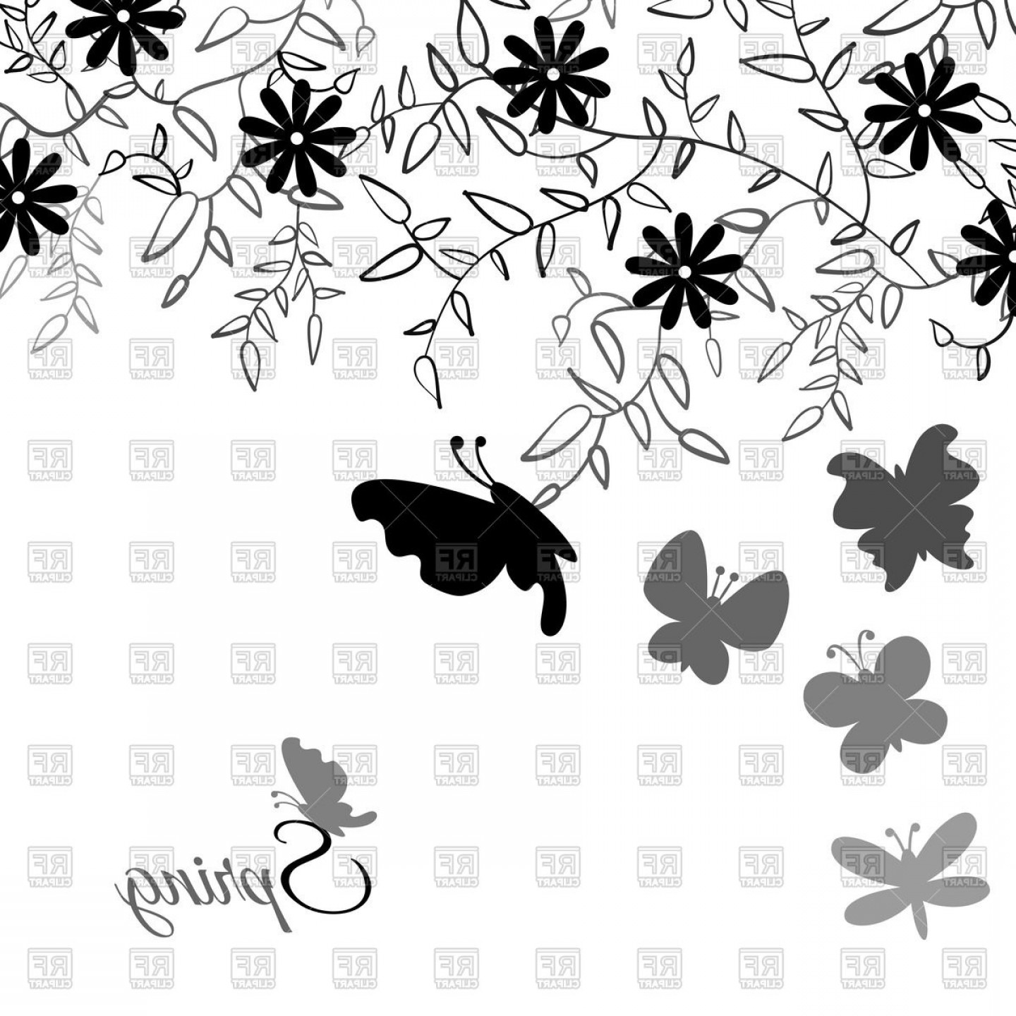 Butter Fly And Flower Vector Black And White: Cute Flower And Butterflies Floral Black Background Vector Clipart