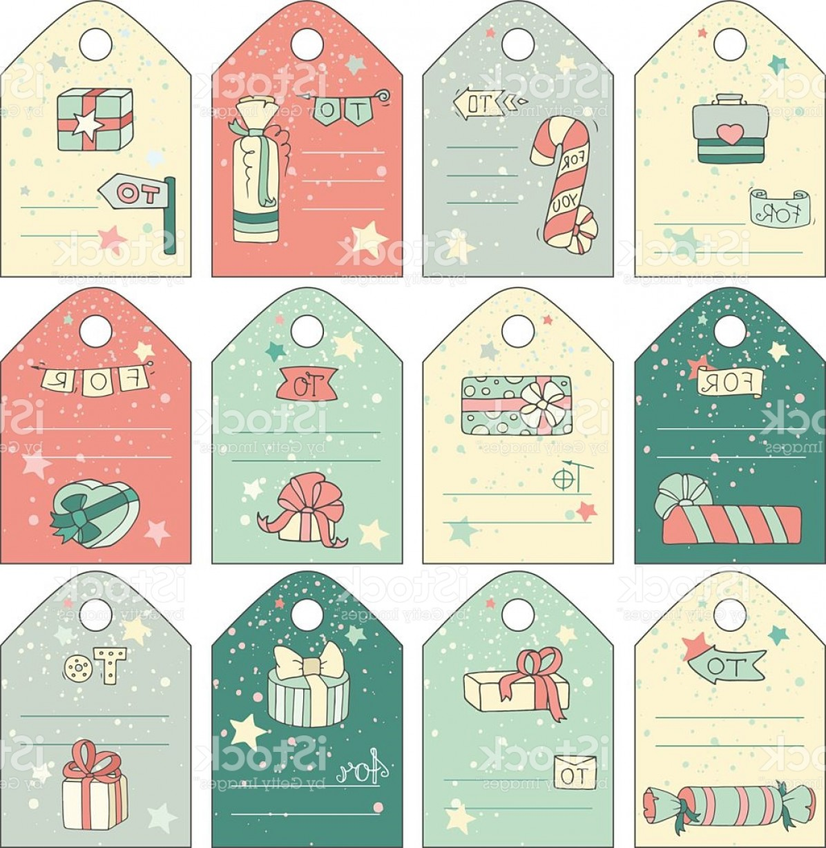 Gift Tags Vector Art: Cute Gift Tags With Cartoon Doodle Gift Boxes Gm