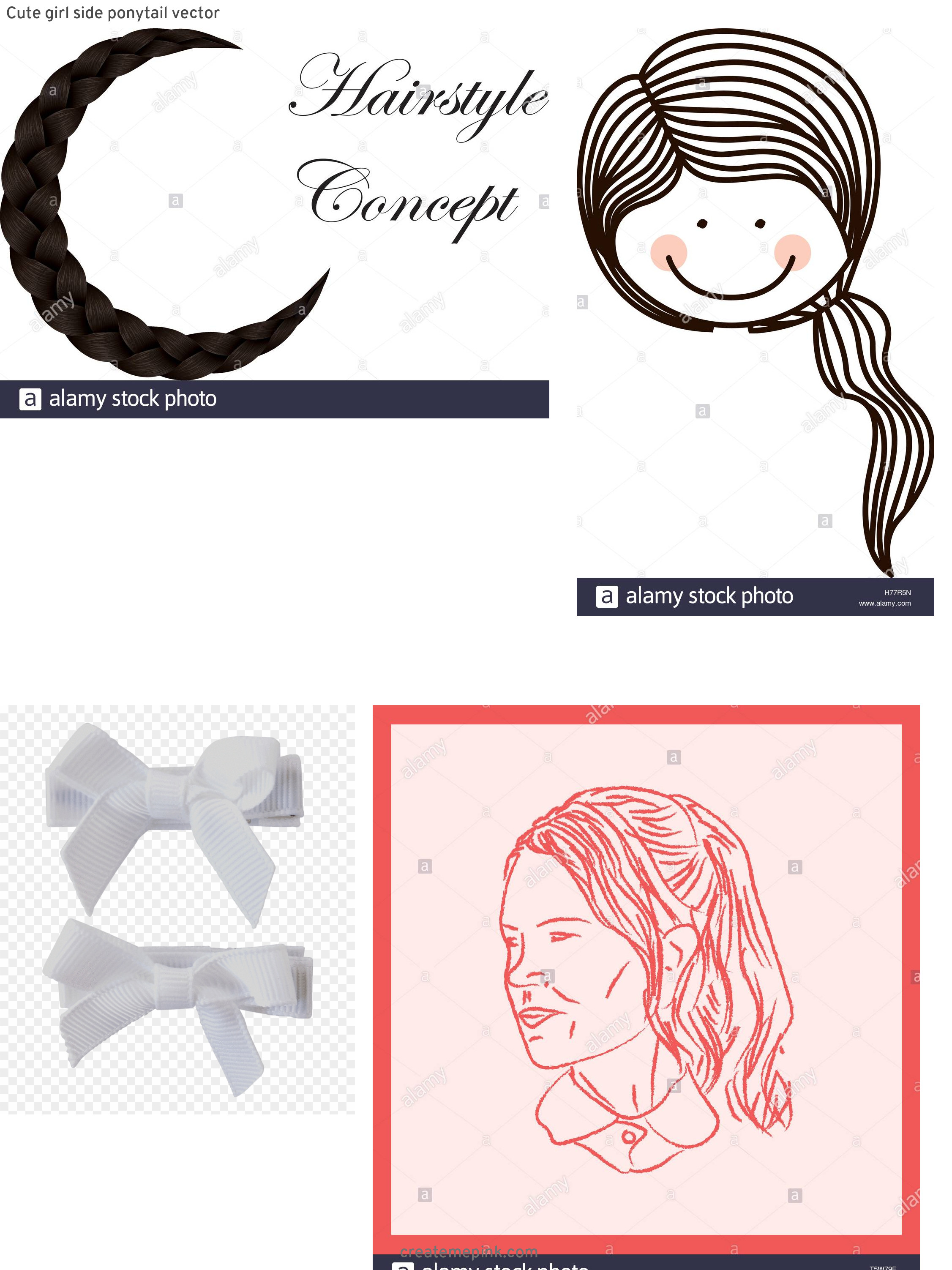 Vector Bow Braid Ponytail: Cute Girl Side Ponytail Vector