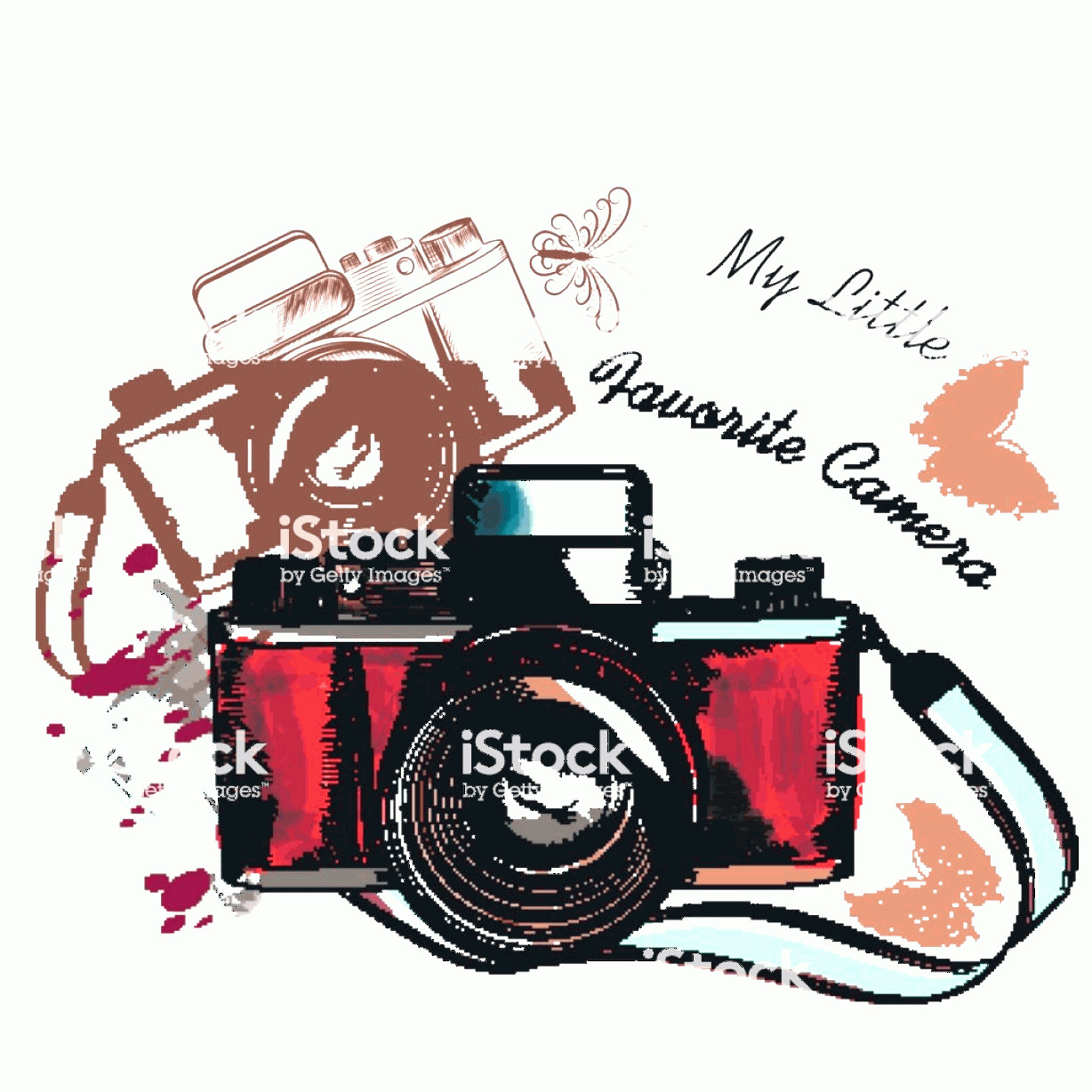 Classic Camera Vector: Cute Hand Drawn Vintage Camera Vector Illustration Gm