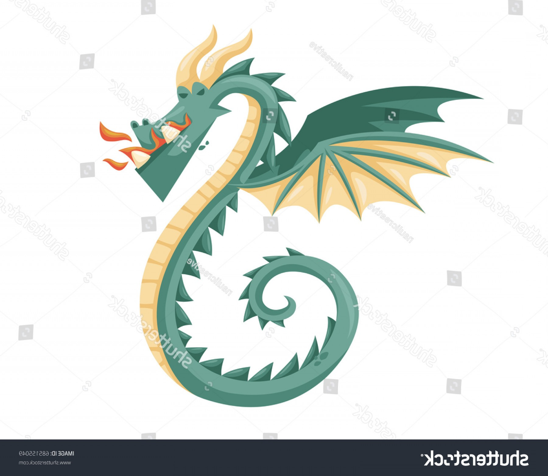 Baby Dragon Silhouette Vector: Cute Happy Flying Baby Dragon Illustration