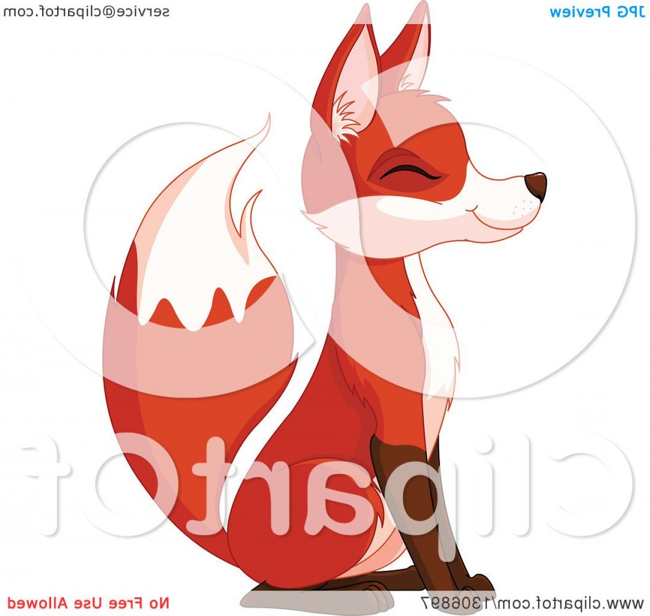 Sitting Fox Logo Vector: Cute Happy Sitting Fox Smiling With Its Eyes Closed And Facing Left