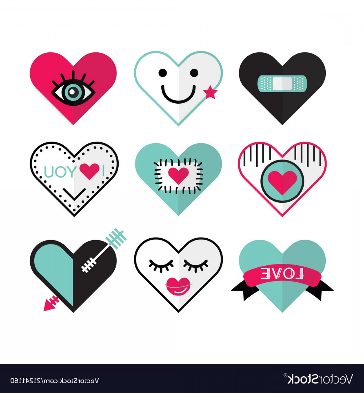 Vector Eyes At Ccute: Cute Heart And Love Icon Emblems Design Elements Vector