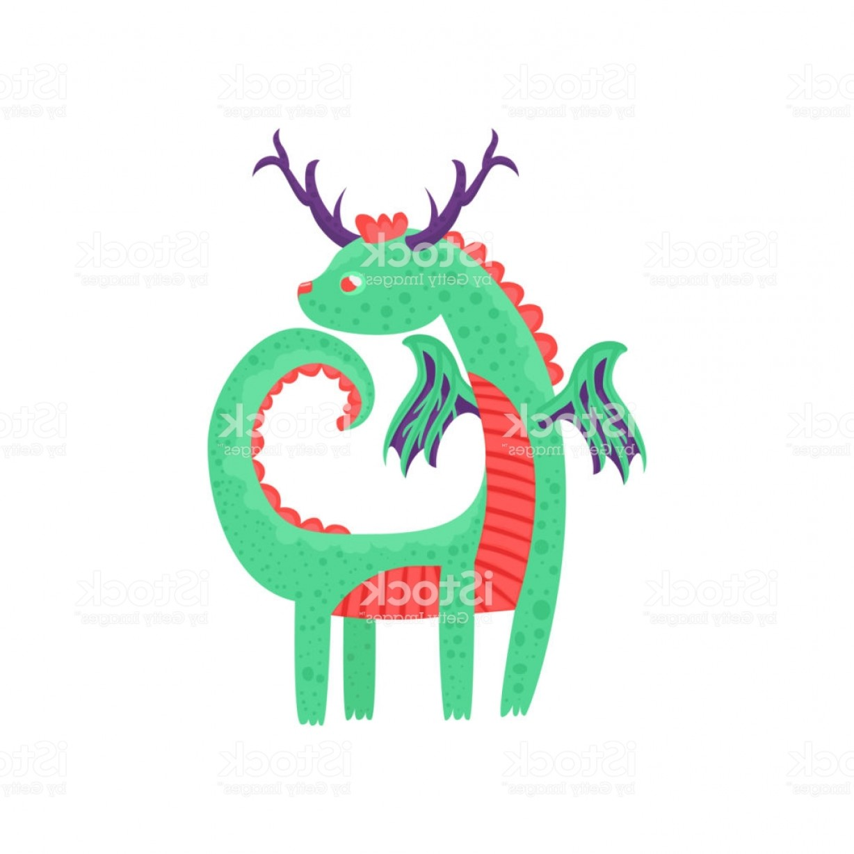 Baby Dragon Silhouette Vector: Cute Horned Baby Dragon Character Mythical Animal Fantasy Reptile Vector Illustration Gm