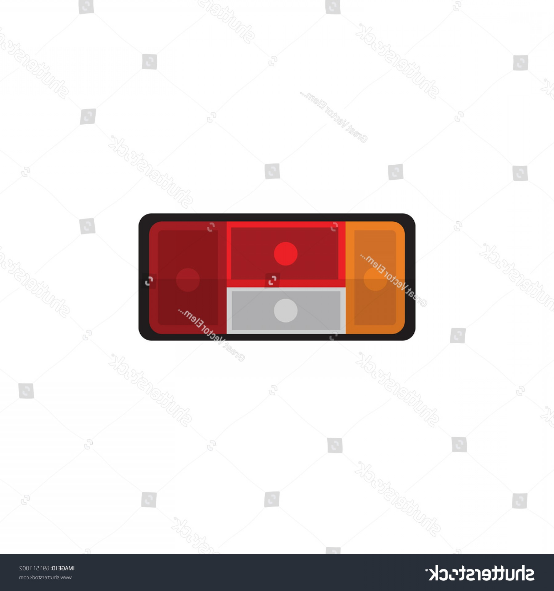 Headlight Vector Png: Cute Isolated Taillight Flat Icon Headlight Vector