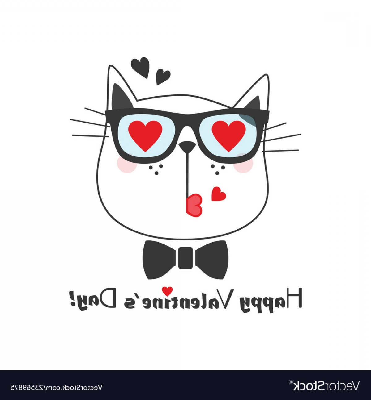 Vector Eyes At Ccute: Cute Kissing Cat Face Icon With Heart Eye Glasses Vector