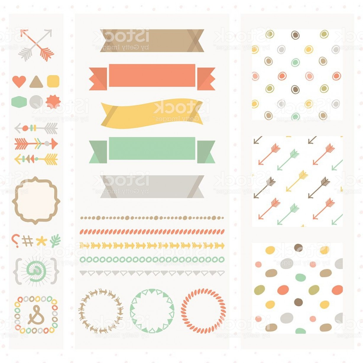 Cute Design Elements Vector Set: Cute Light Color Design Elements Set Gm
