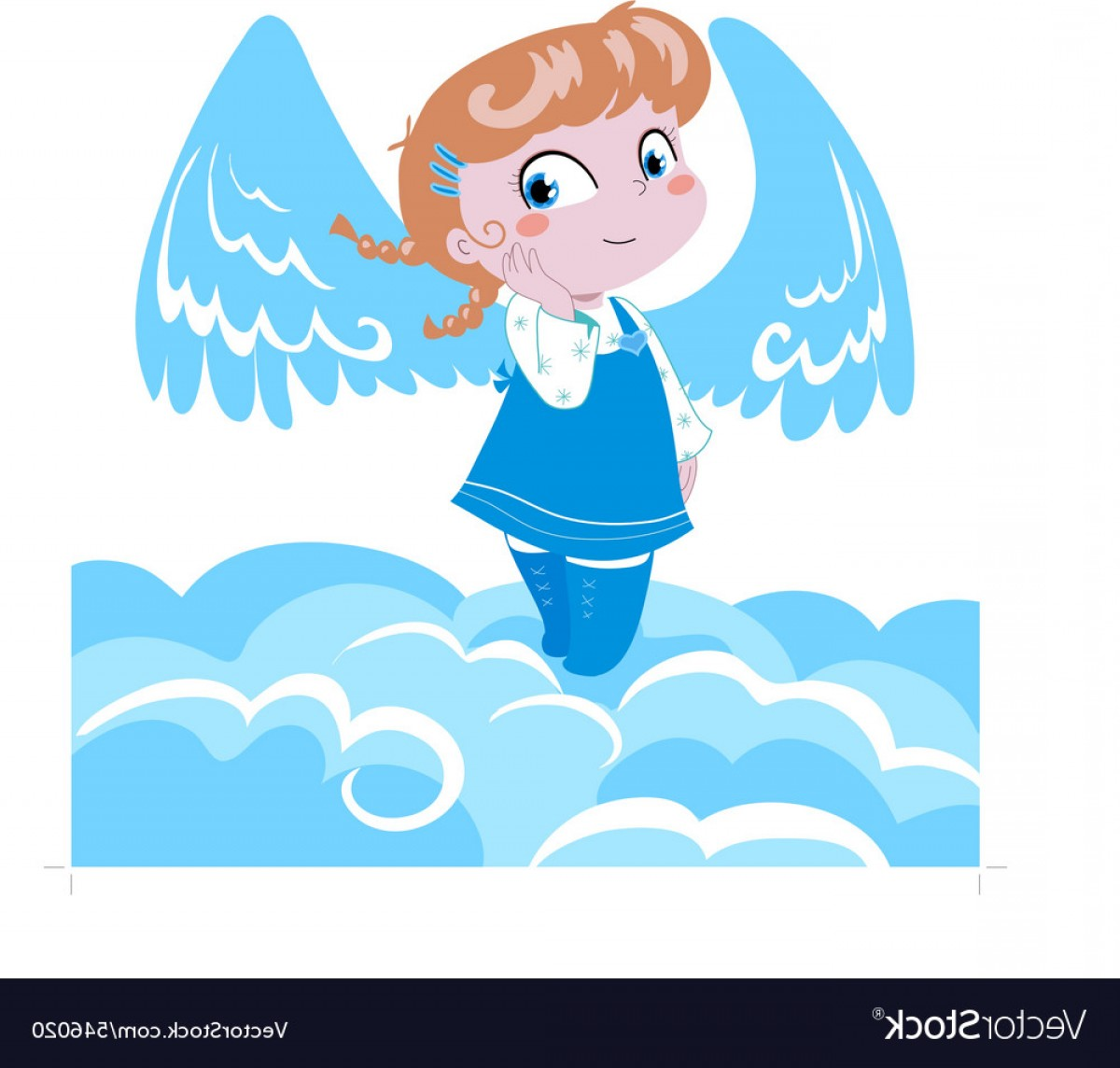 Little Angel Vector: Cute Little Angel On Clouds Vector