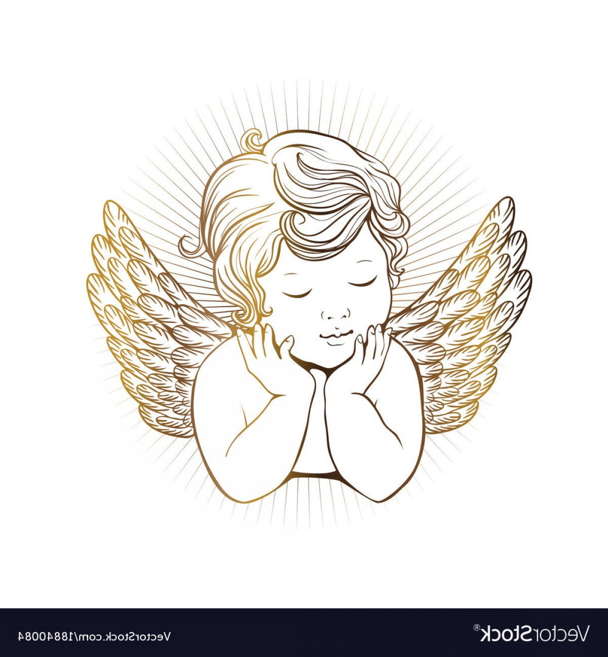 Little Angel Vector: Cute Little Angel With Closed Eyes With Wings Vector