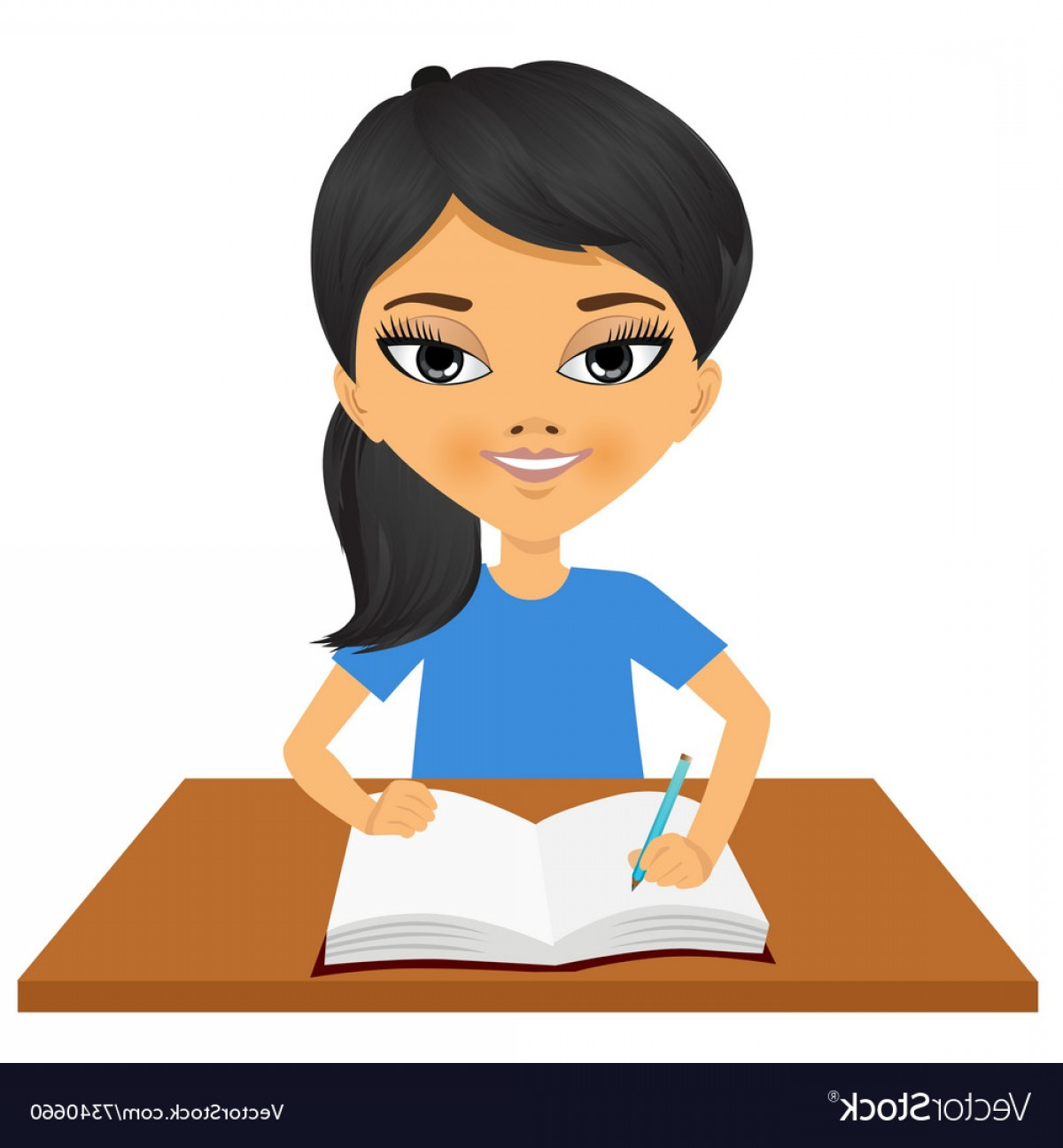 Asian Student Vector: Cute Little Asian Student Girl Writing Vector