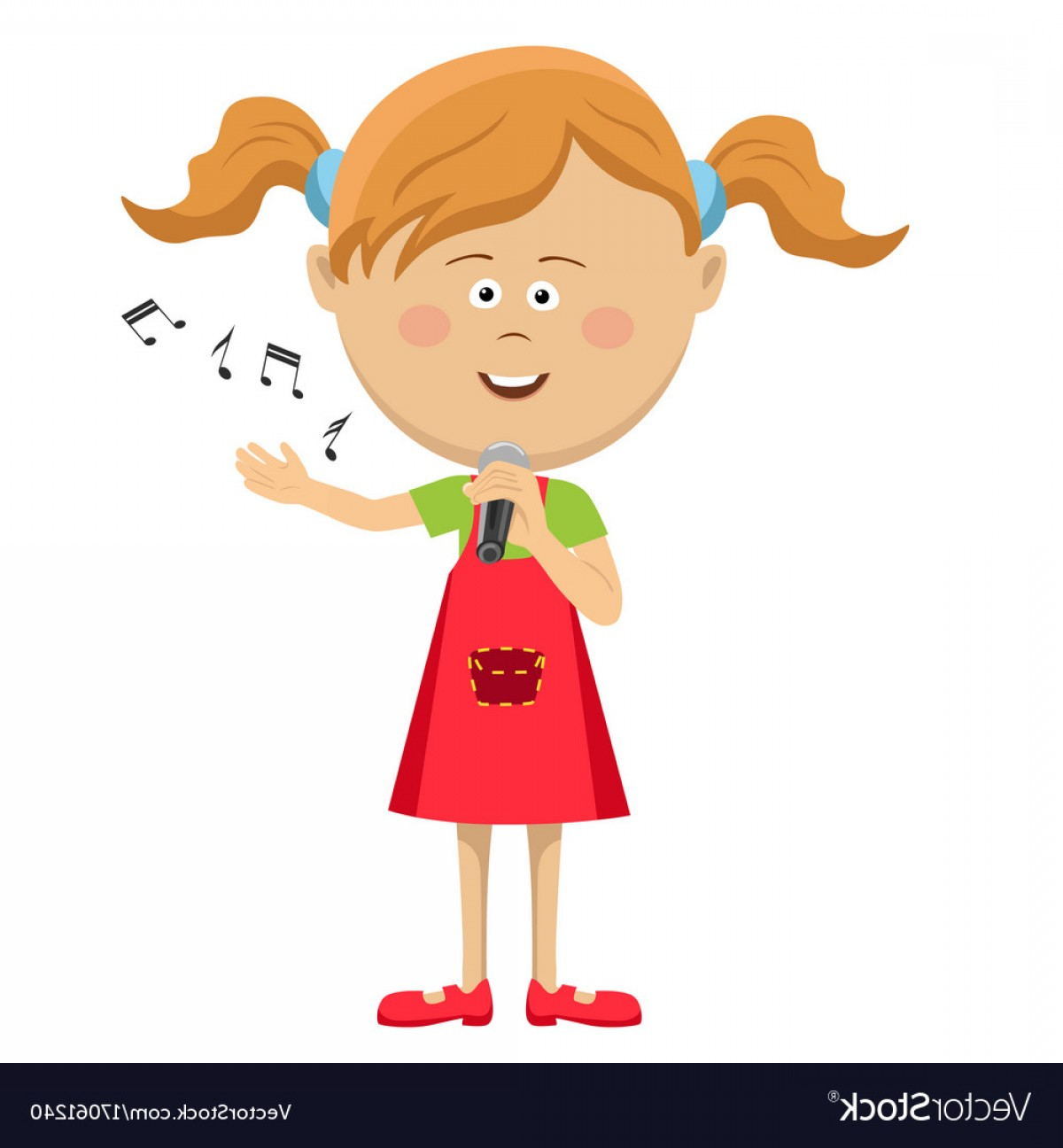 Singing Girls Vector Art: Cute Little Girl With Microphone Singing Vector
