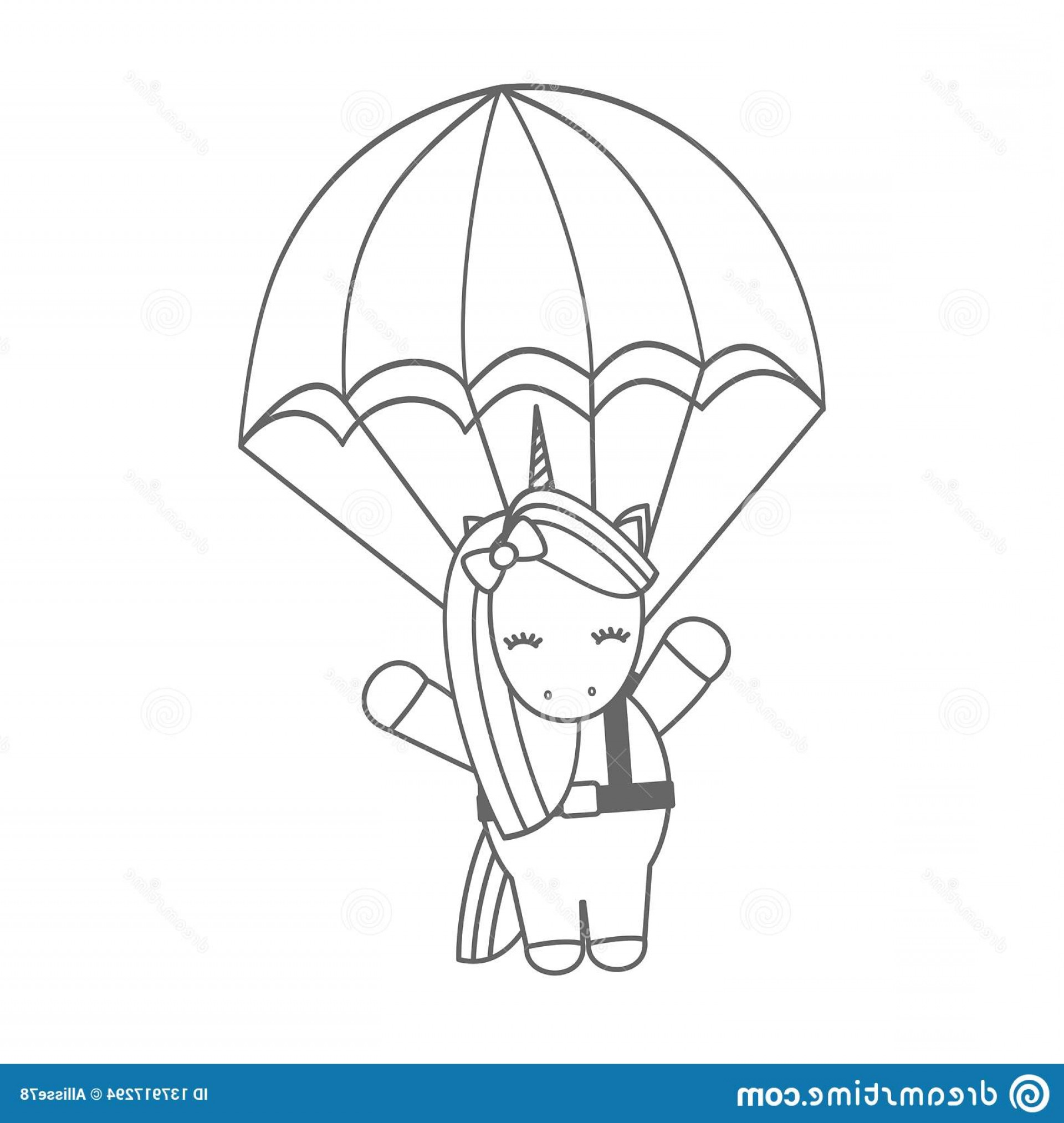 Funny Black And White Vector: Cute Lovely Cartoon Unicorn Flying Parachute Funny Black White Vector Illustration Image