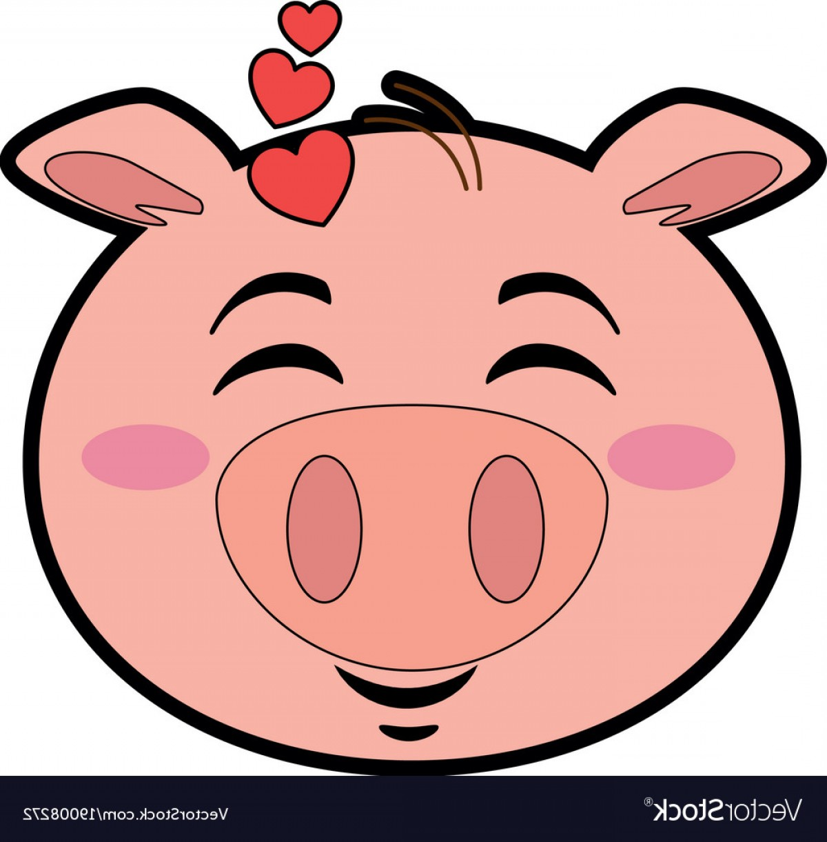 Vector Pig Nose: Cute Lovely Pig Emoji Kawaii Vector