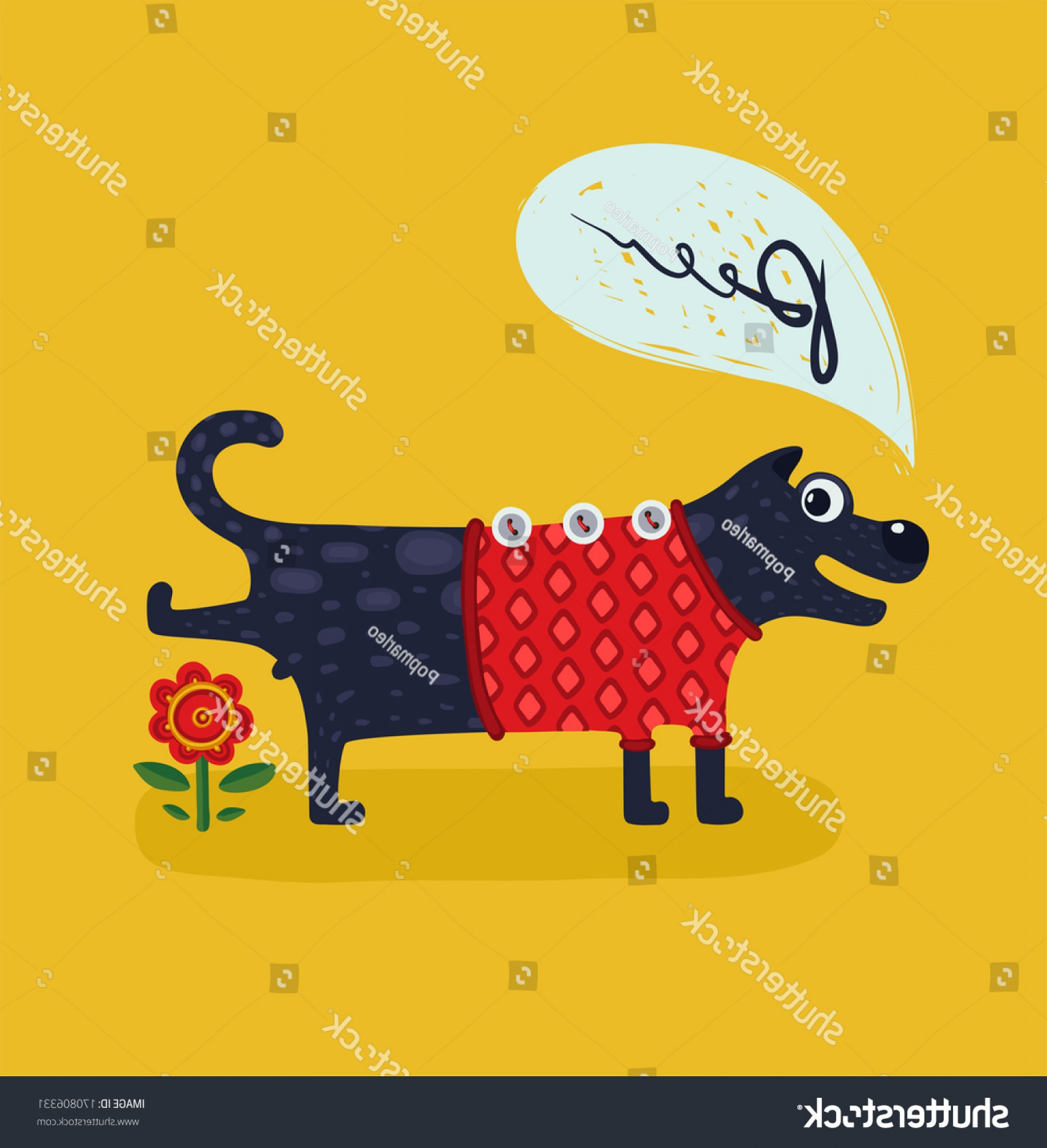 Pee On Clip Art Vector Graphic: Cute Male Dog Peeing Illustration Animal