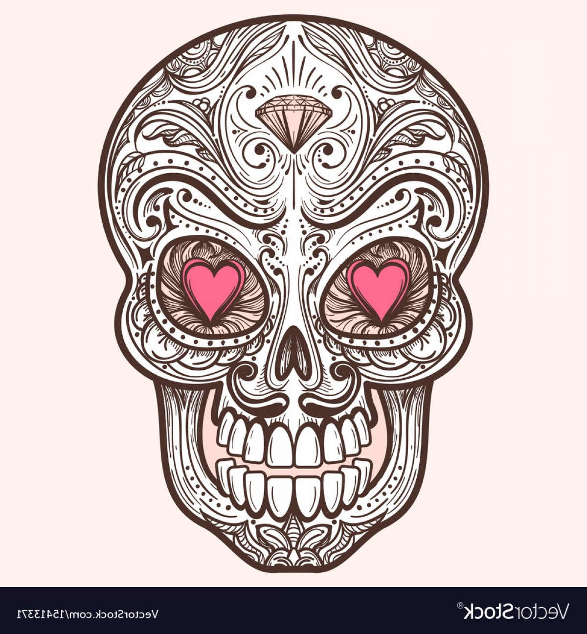 His And Hers Skulls Vector: Cute Mexican Sugar Skull Vector